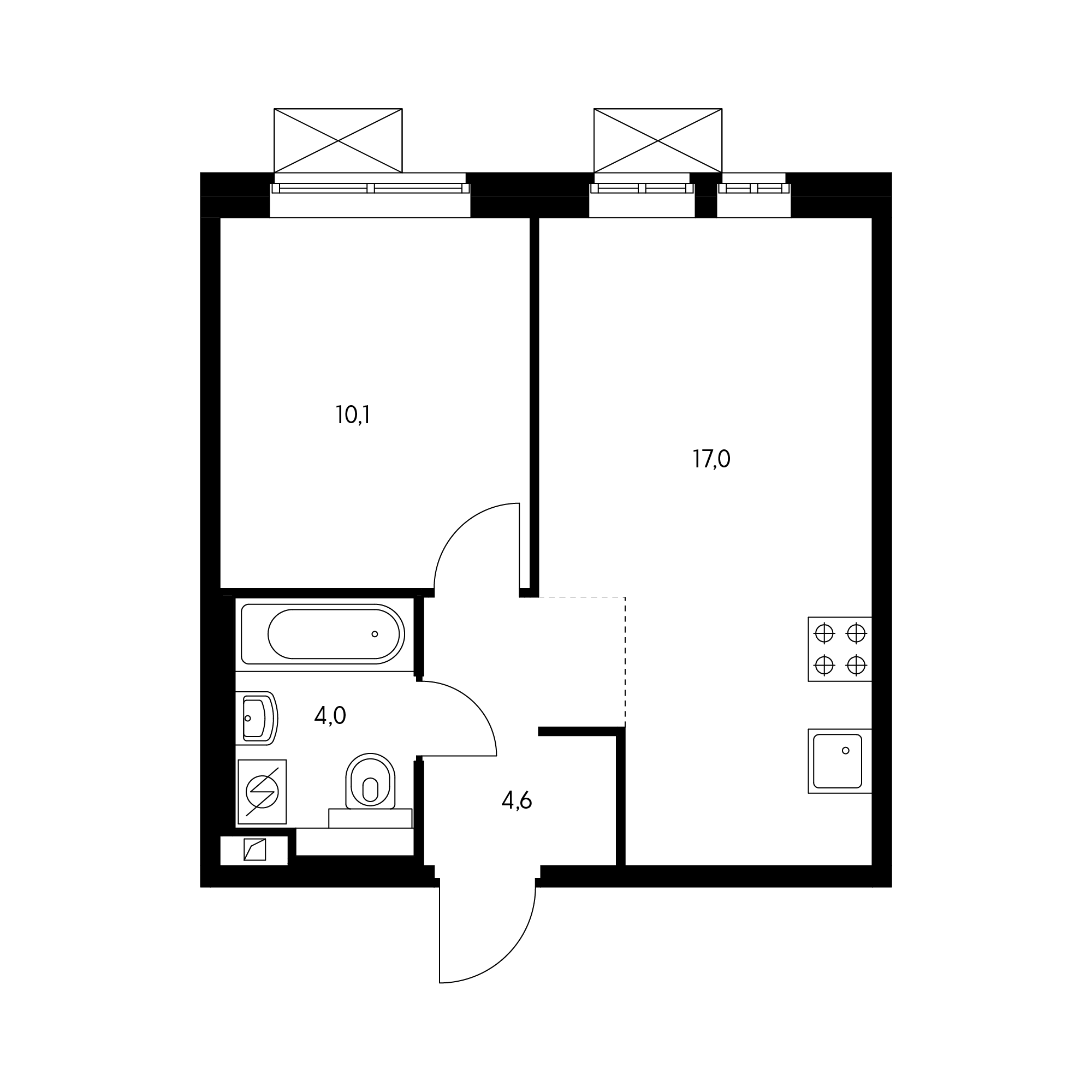 1-комнатная 36.3  м²