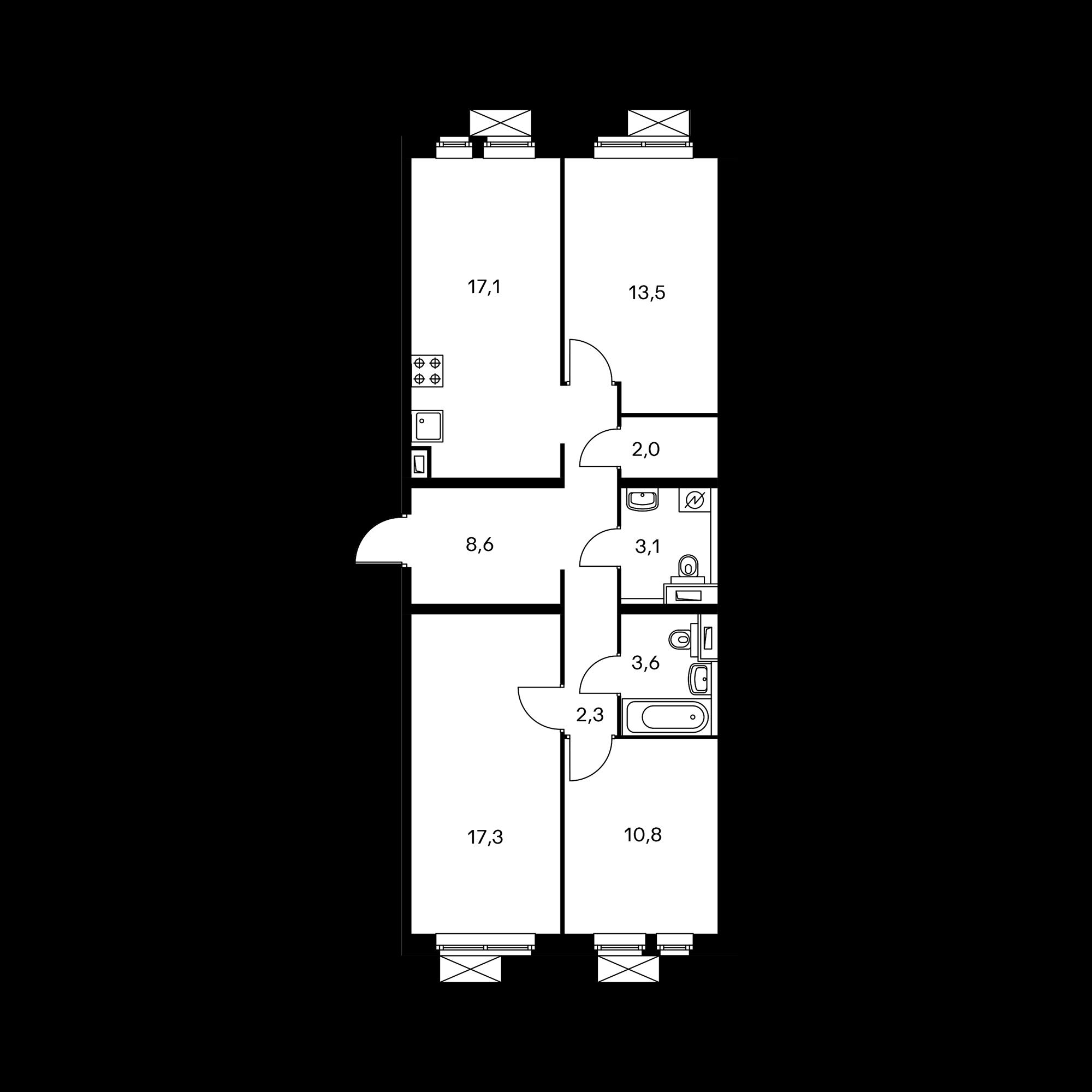 3-комнатная 80.1  м²