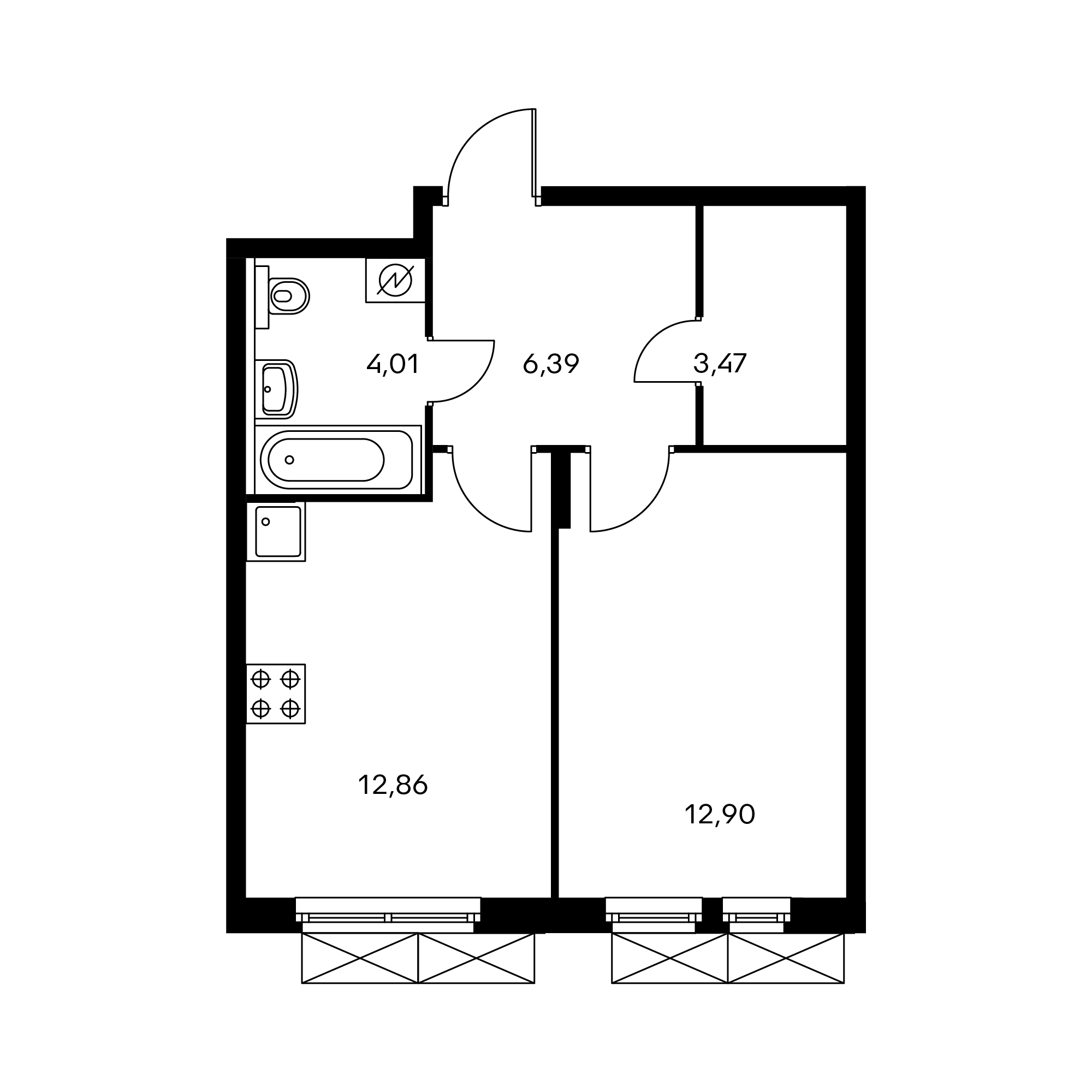 1-комнатная 39.61 м²