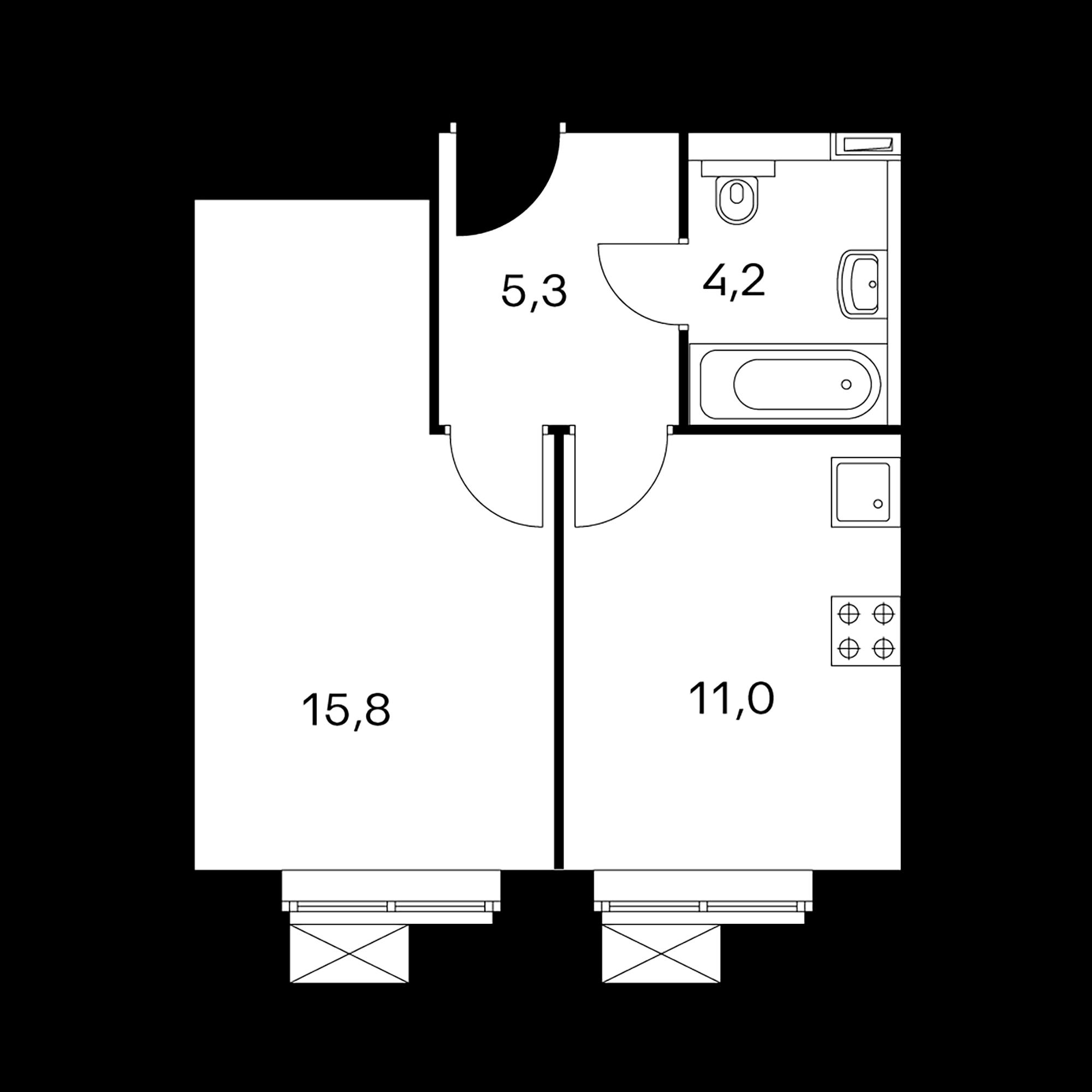 1-комнатные 36.3 м²