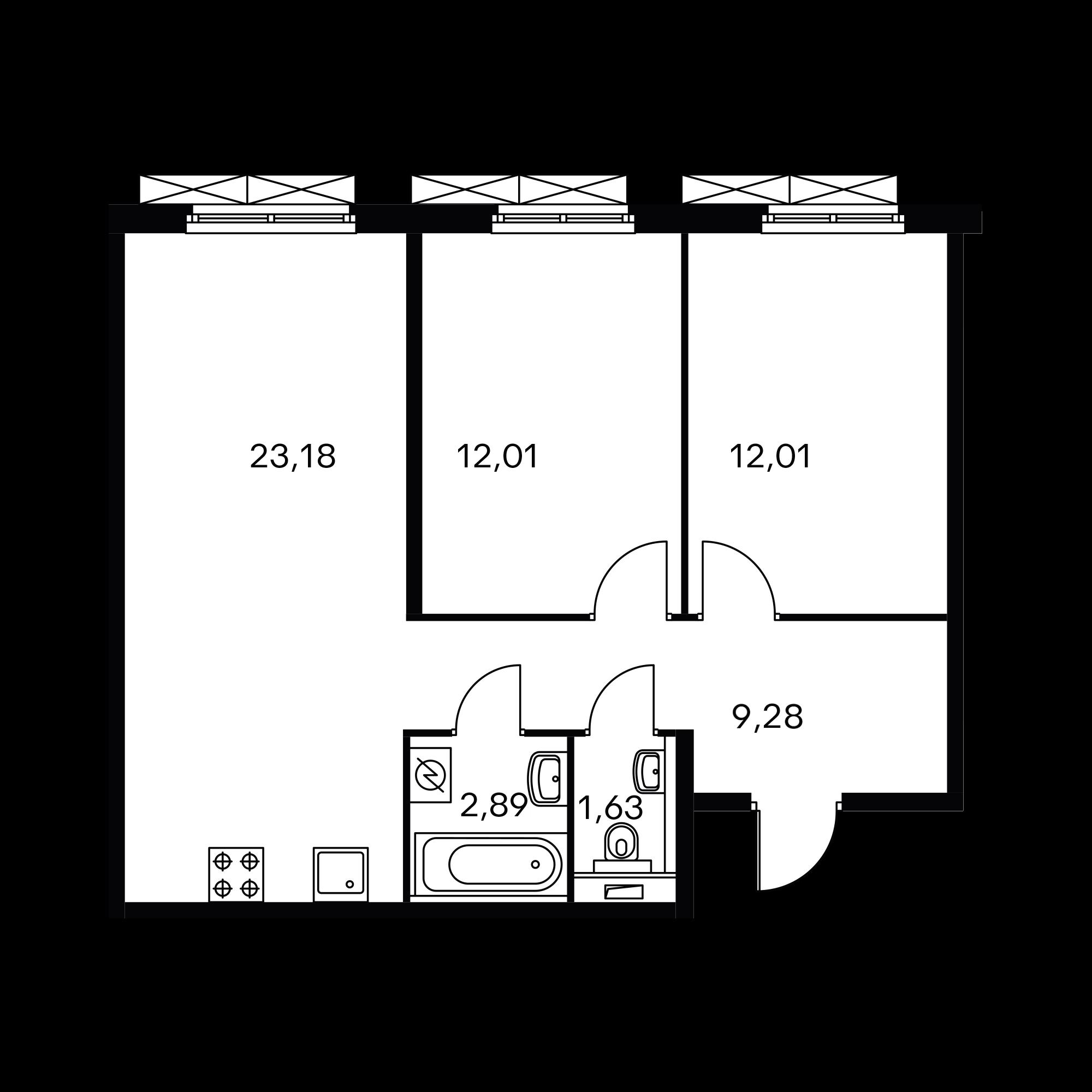 2-комнатная 60.74 м²