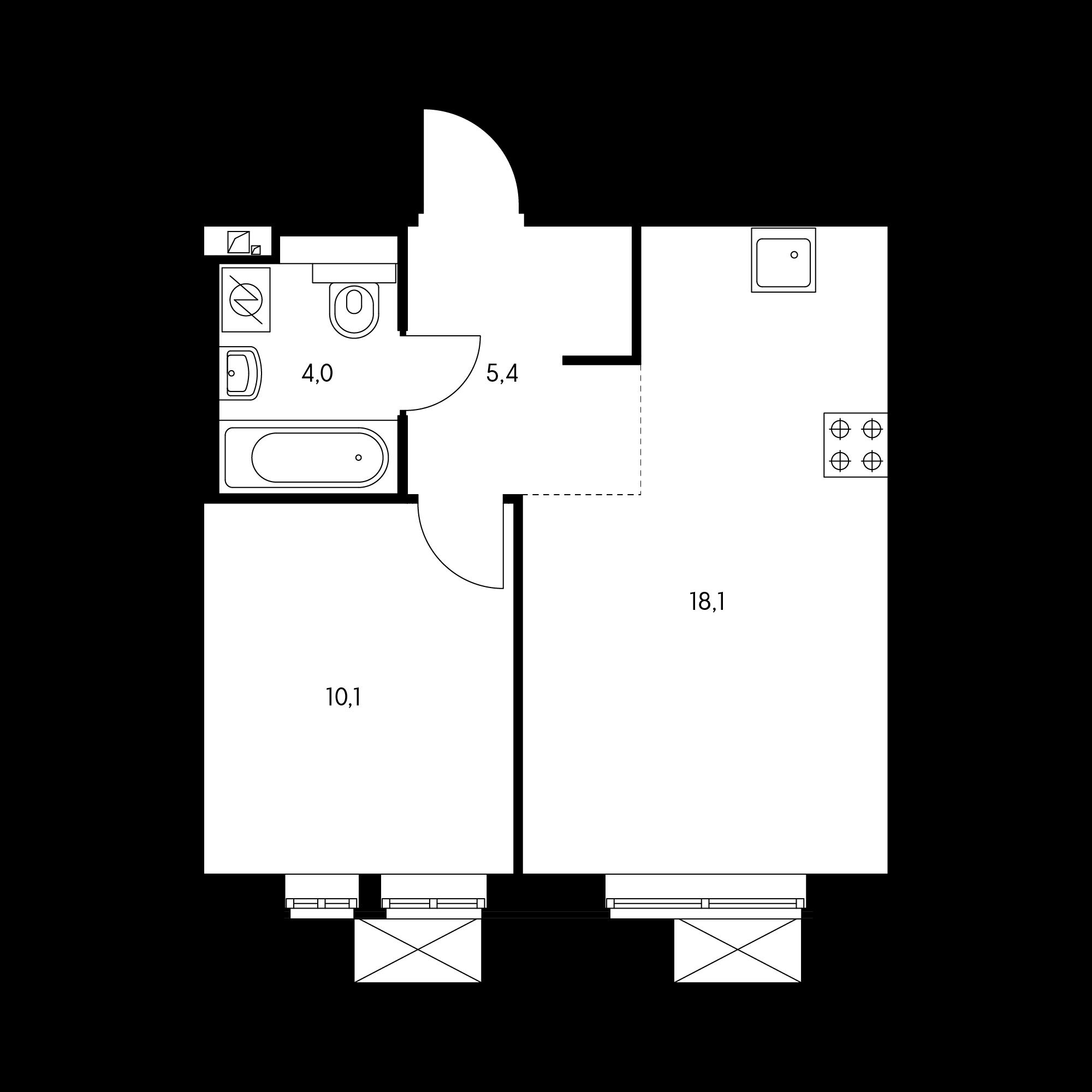 1-комнатная 37.6  м²
