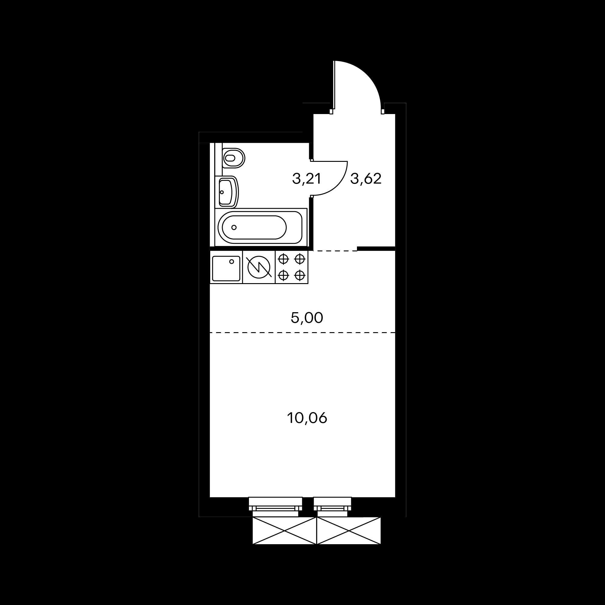 Студия 21.89  м²