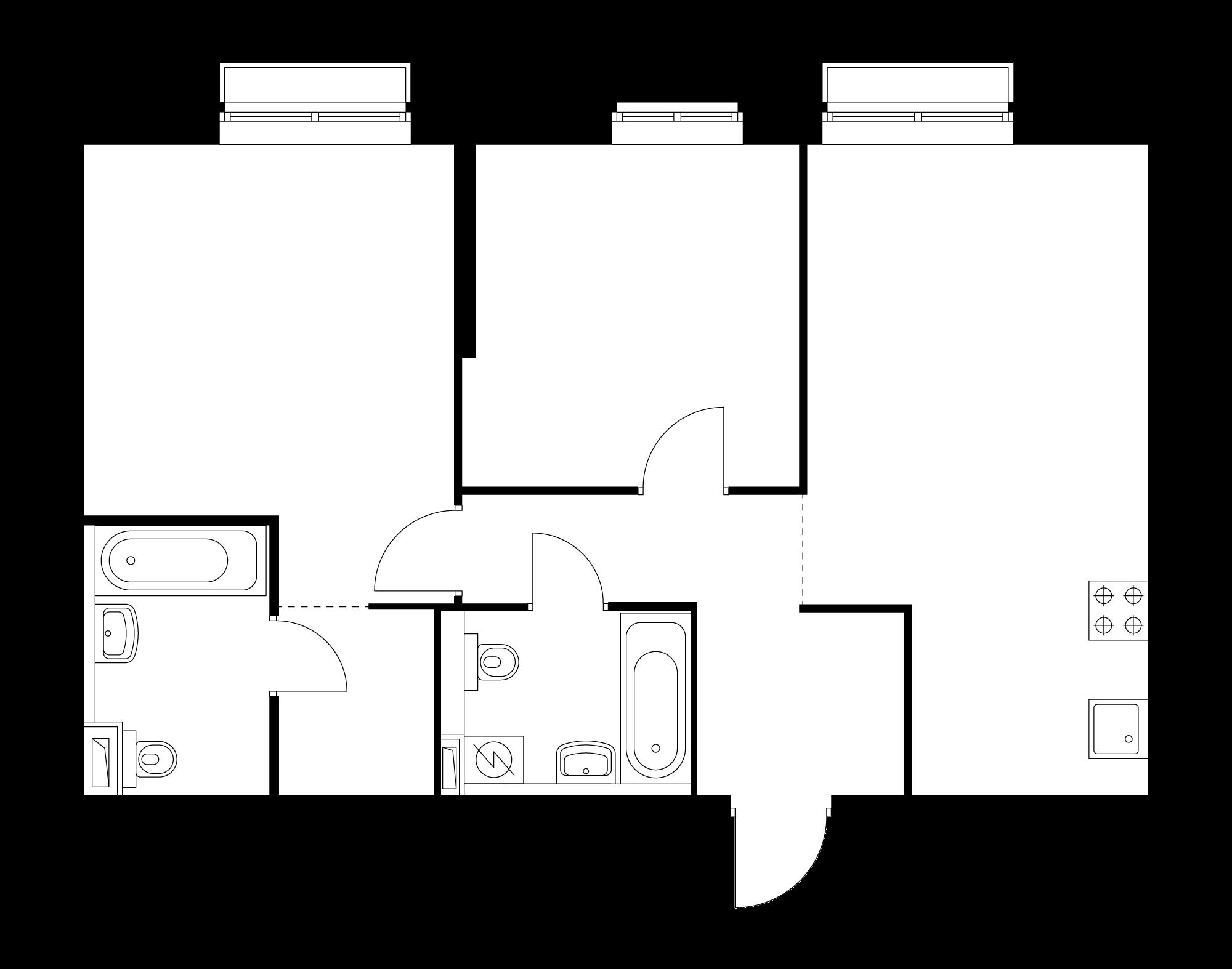 2-комнатная 65.2  м²