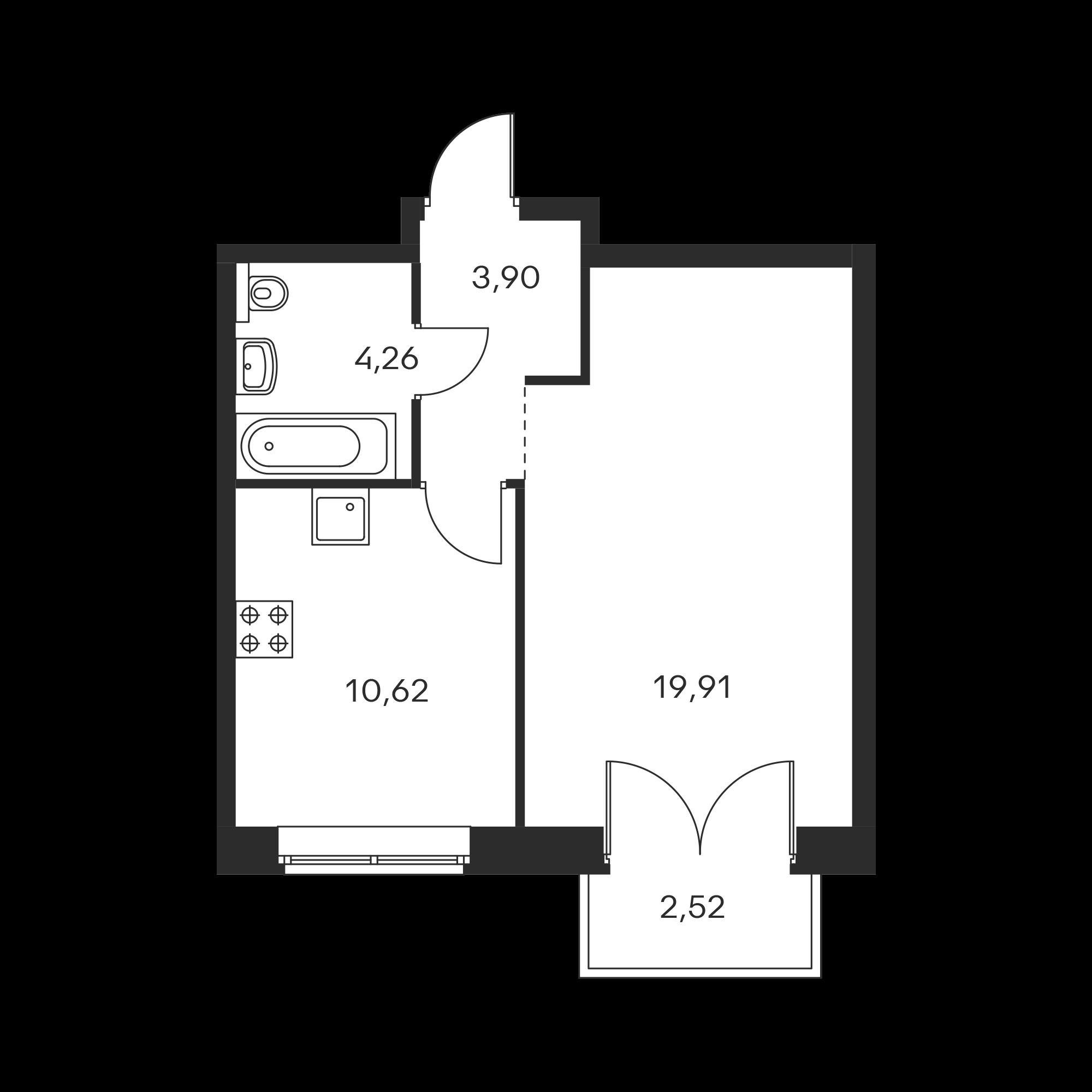 1-комнатная 39.45  м²