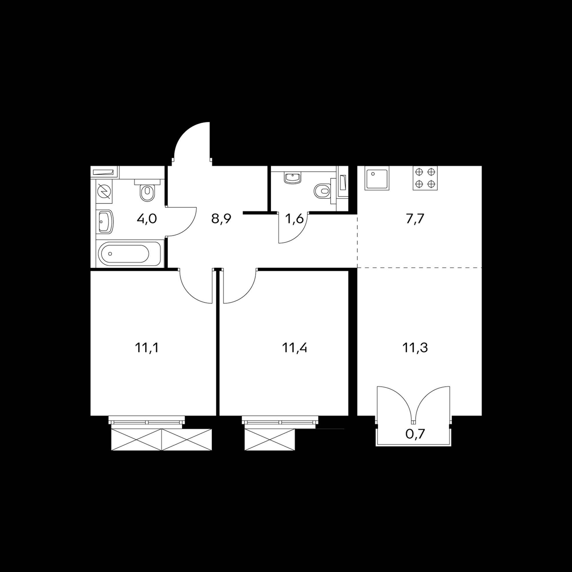 3-комнатная 56.2 м²
