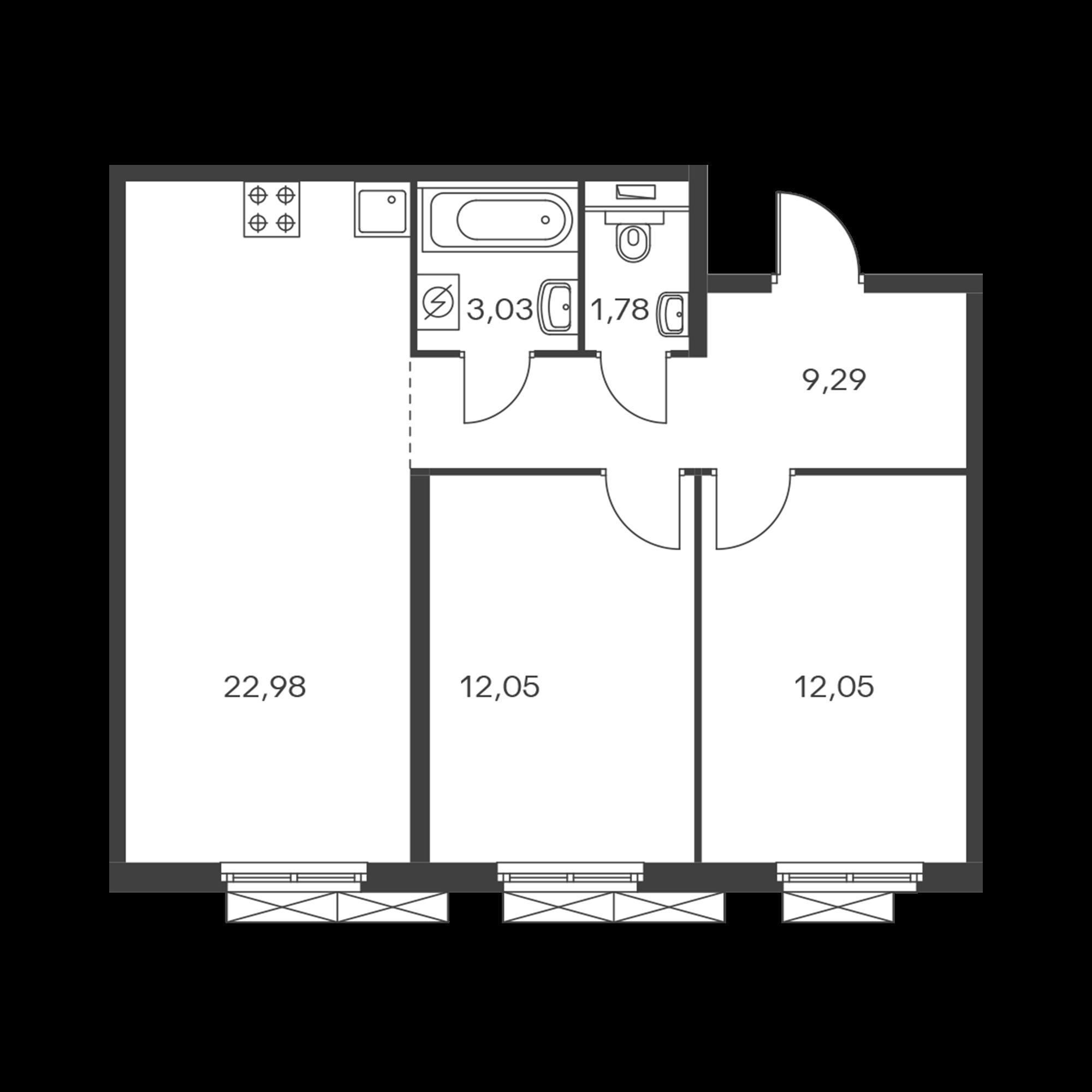 2-комнатная 61.18 м²