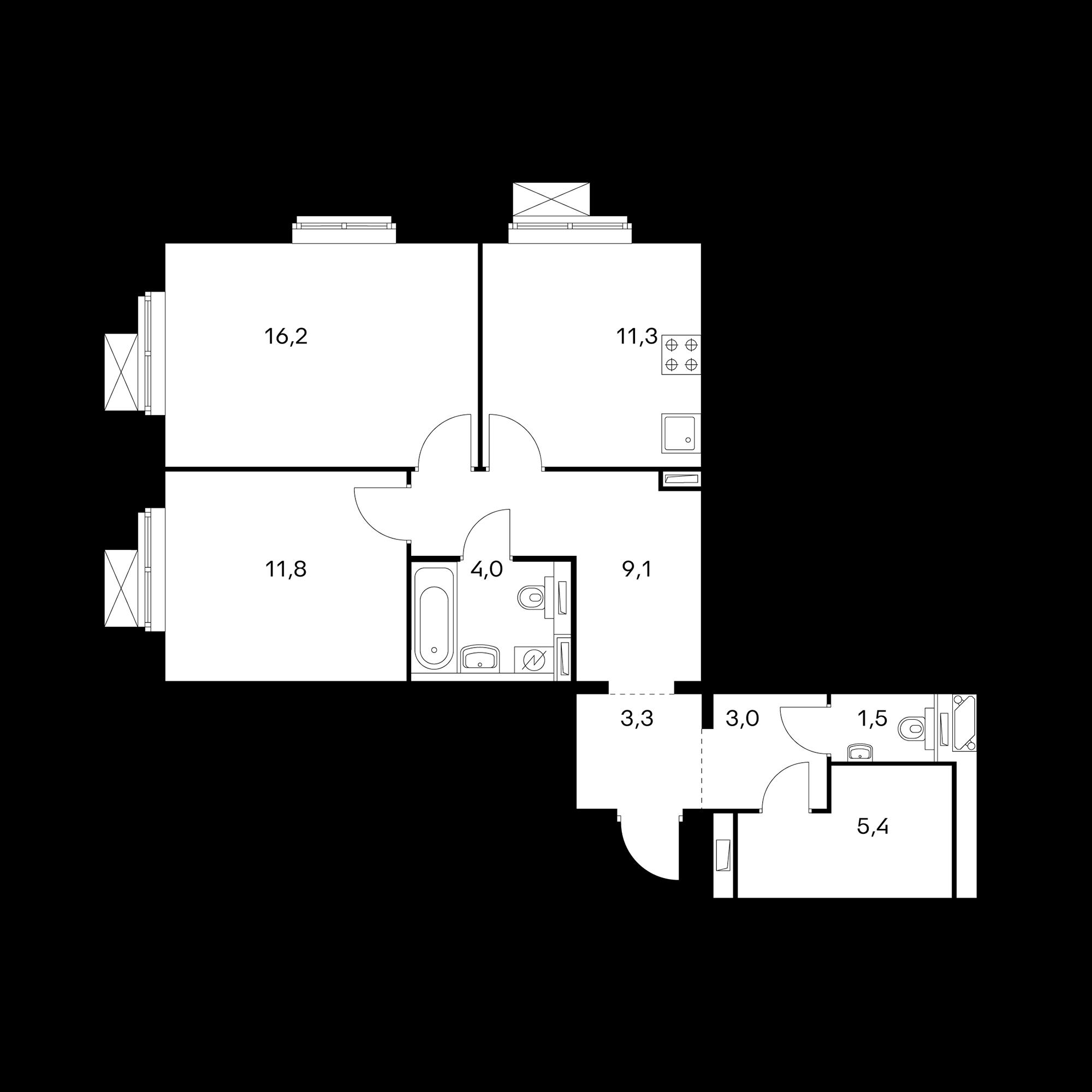 2-комнатная 65.6 м²