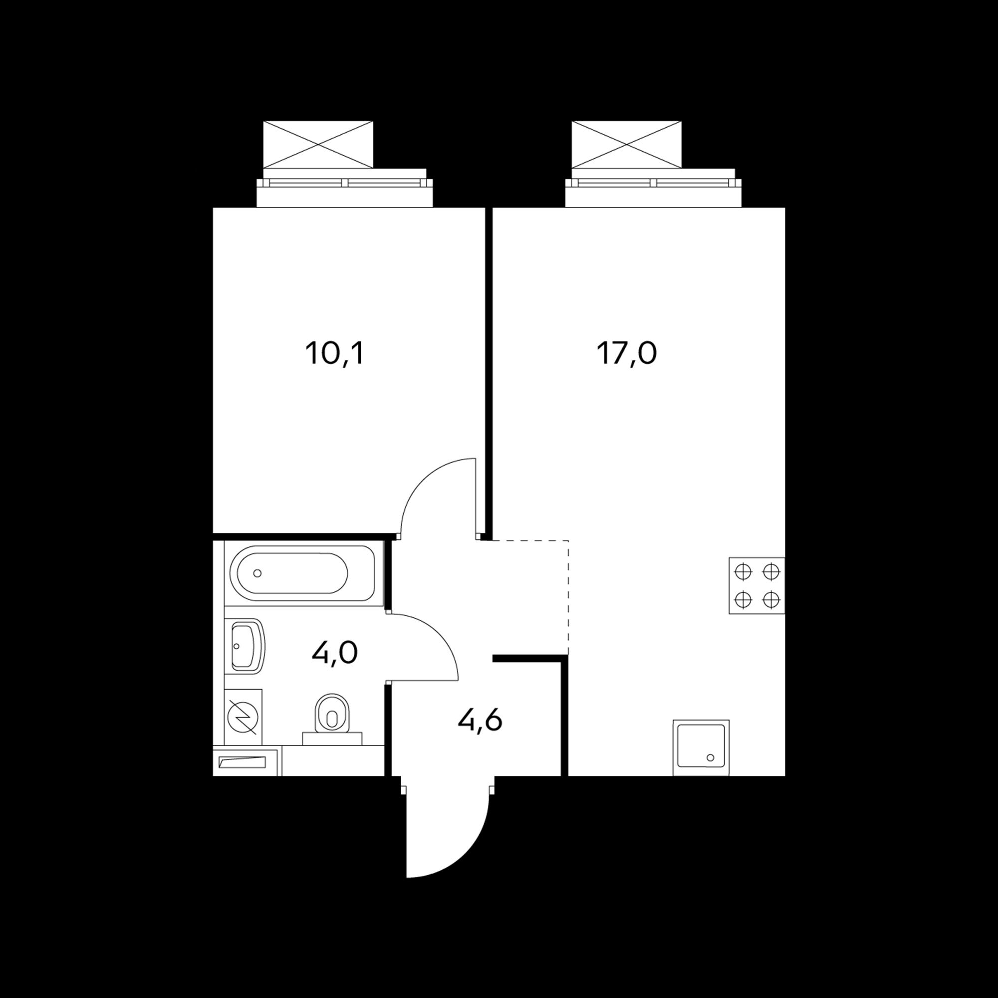 1-комнатная 35.7  м²