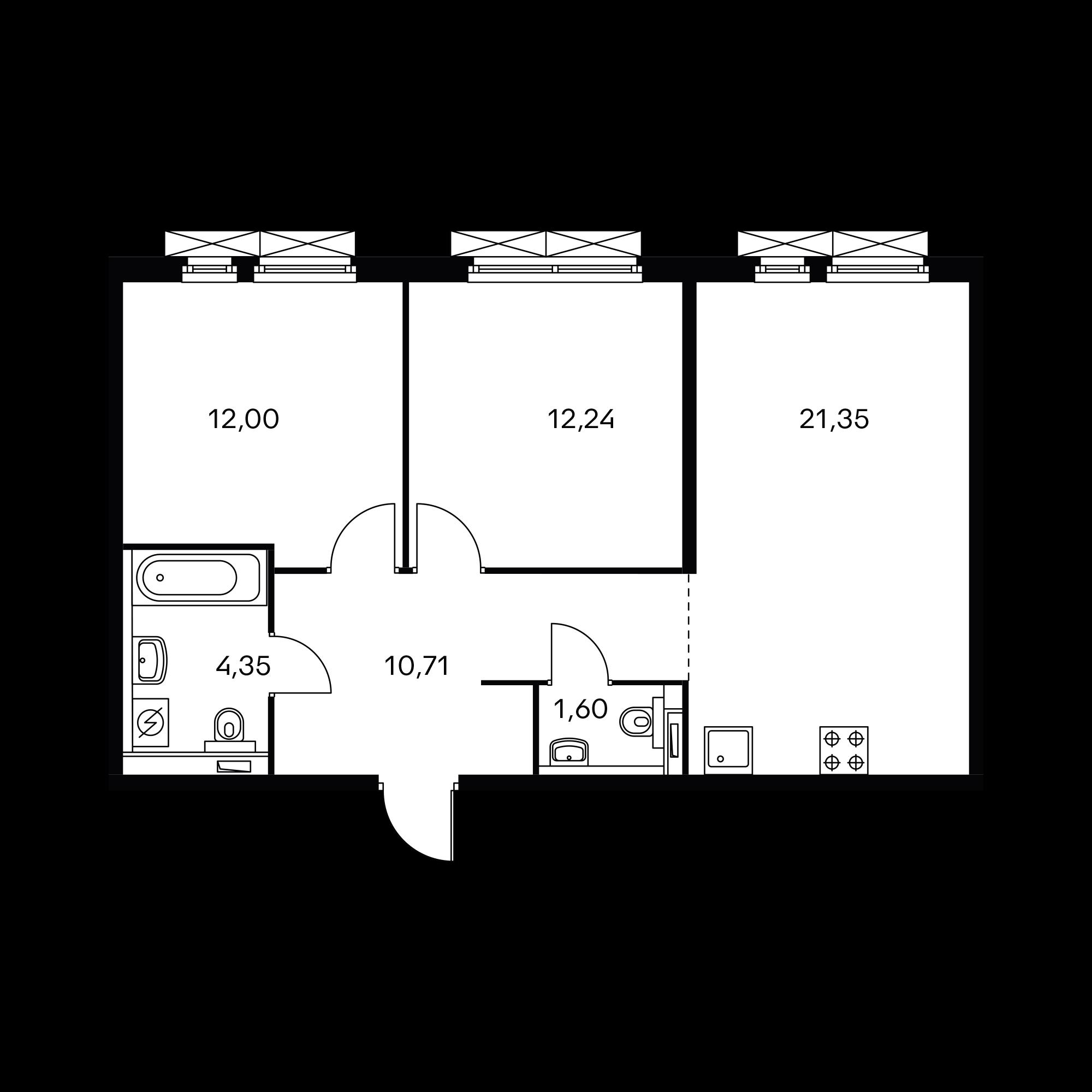 2-комнатная 62.25 м²