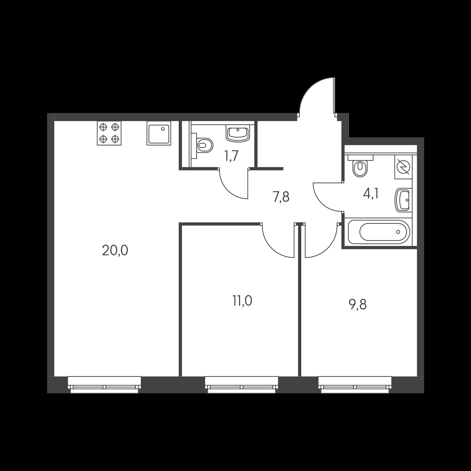 2-комнатная 53.9  м²