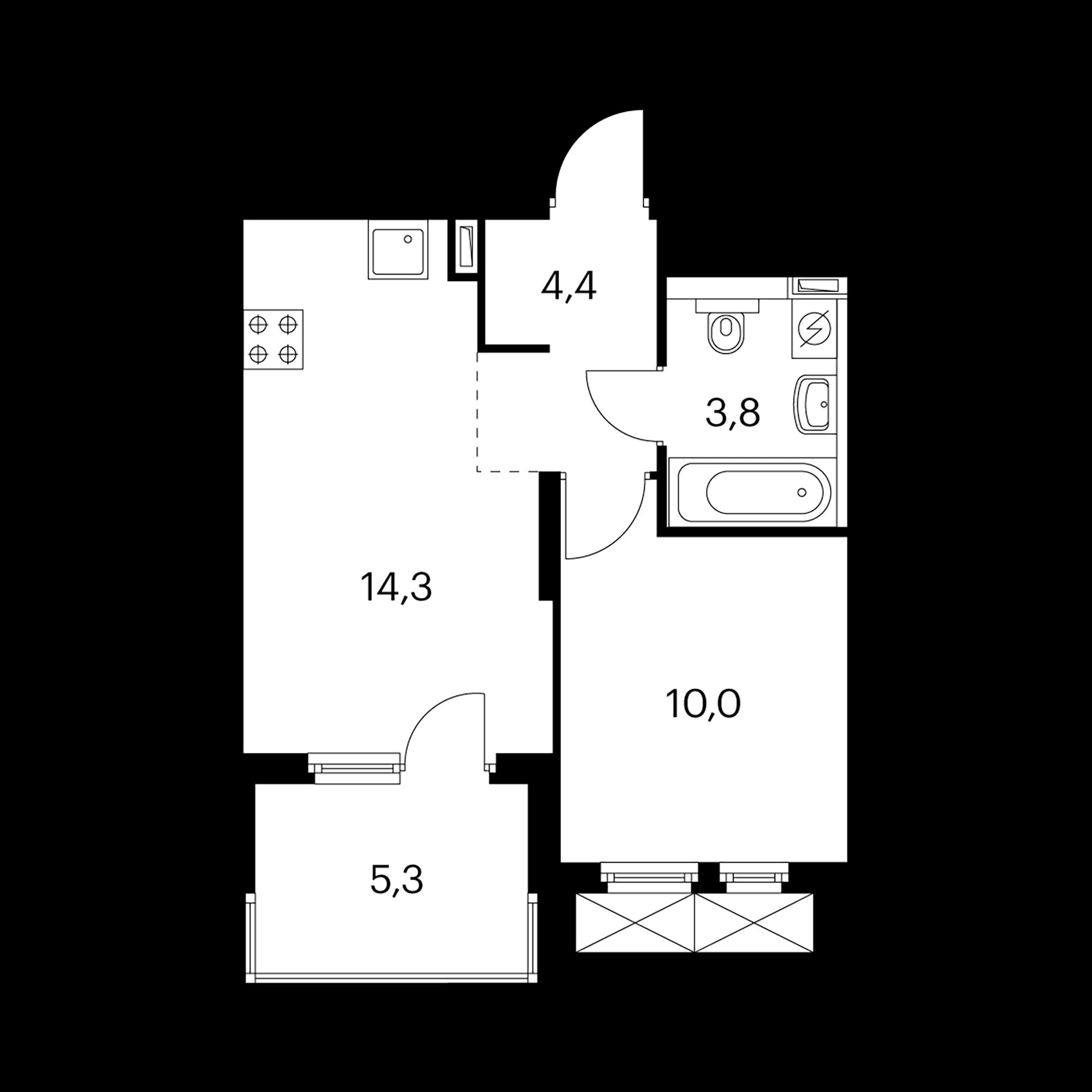 1-комнатная 35.1 м²