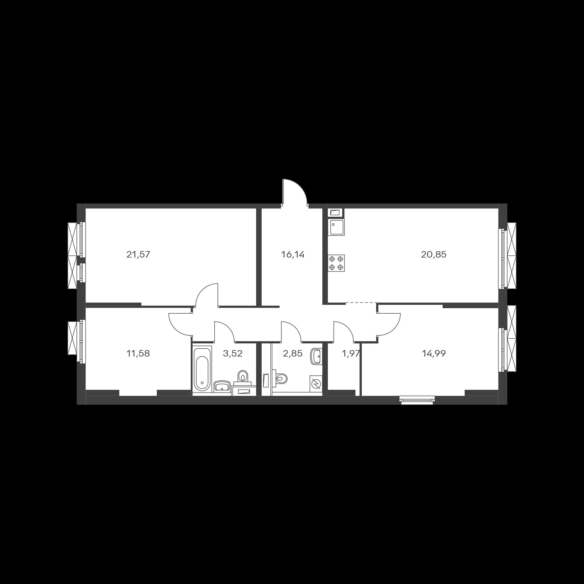 3-комнатная 93.47  м²