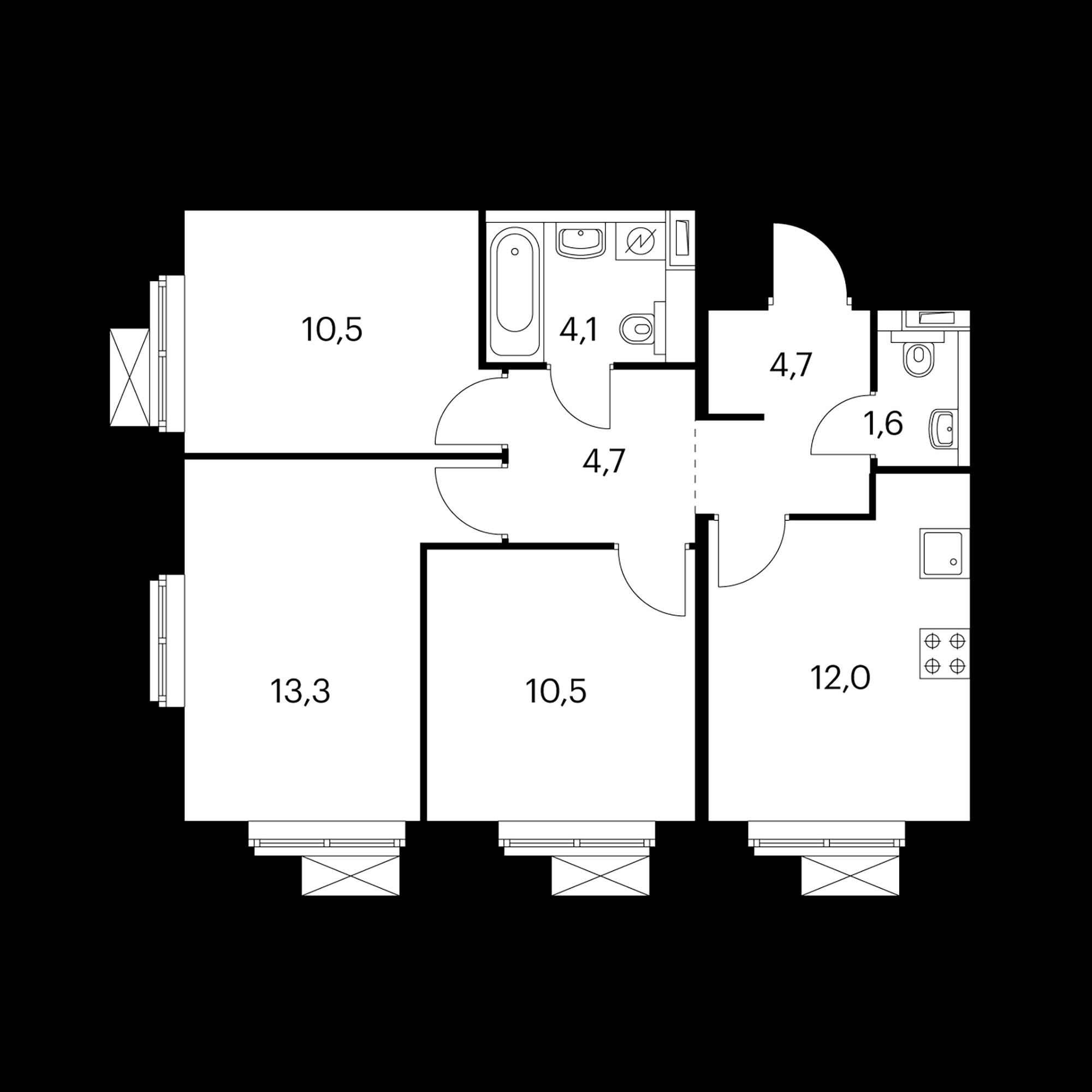3-комнатная 61.1 м²