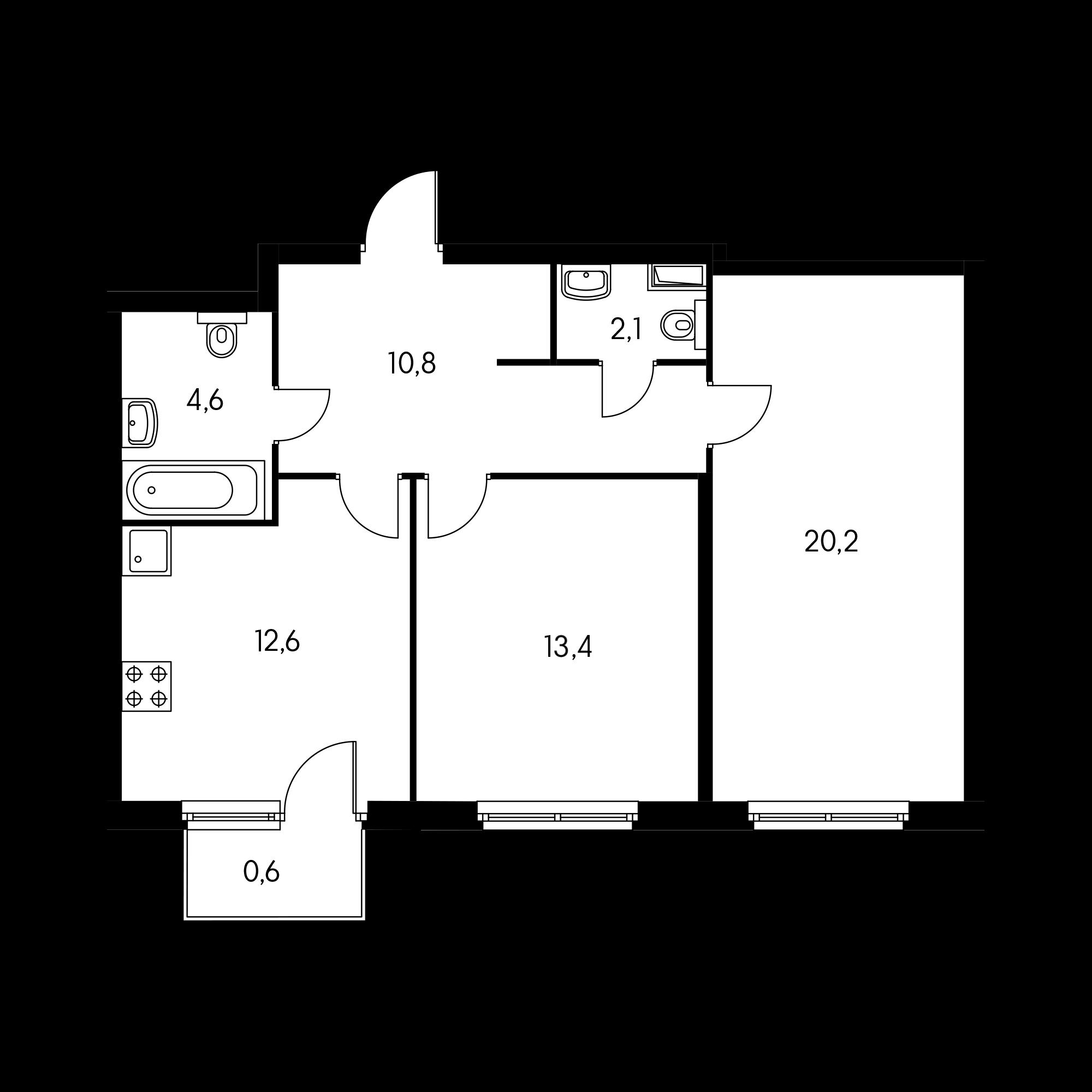 2-комнатная 62.8 м²