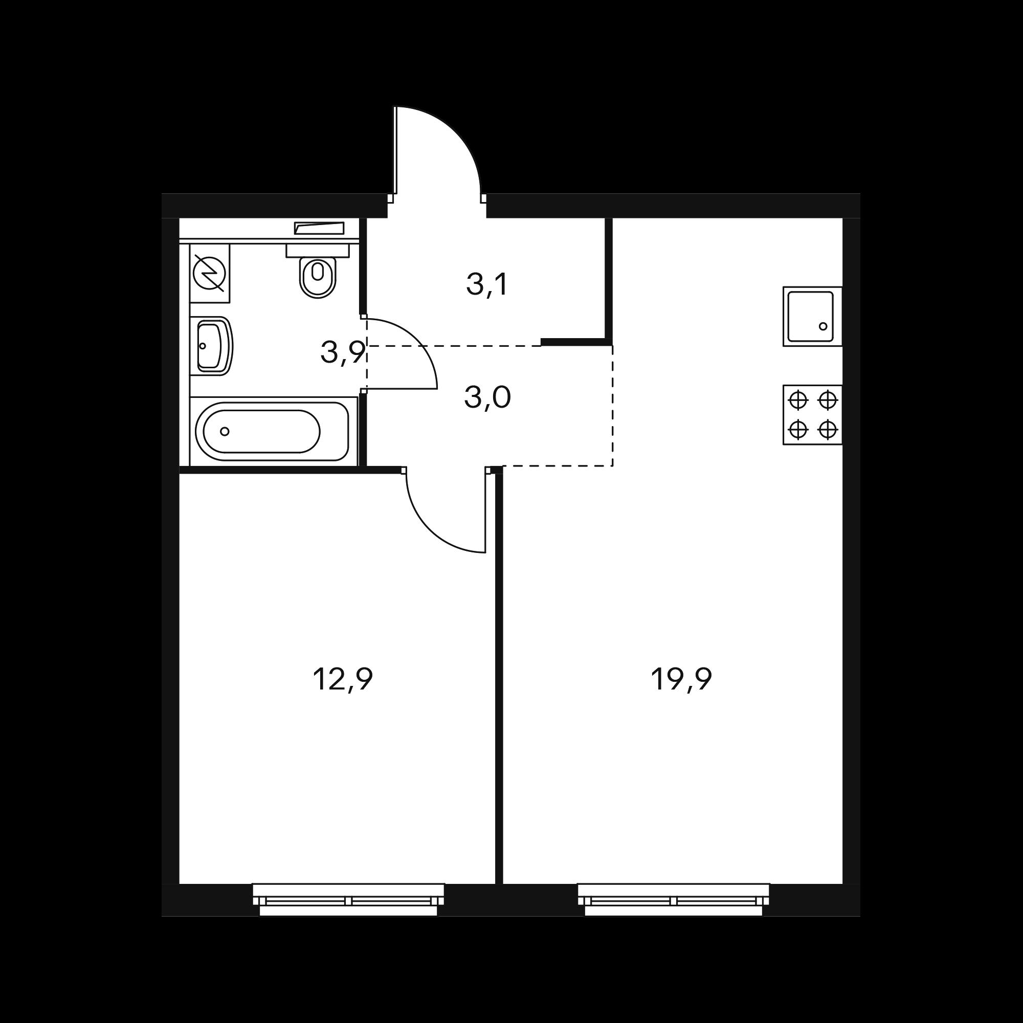 1-комнатная 48.1  м²