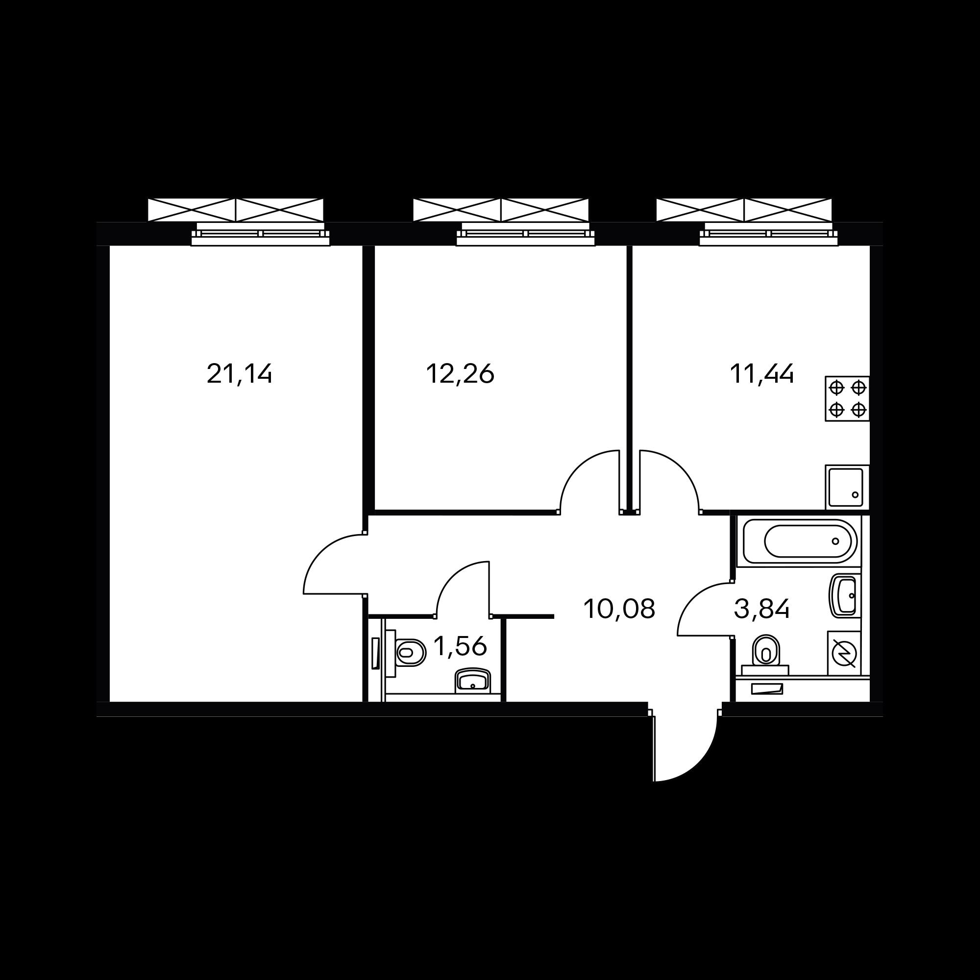 2-комнатная 60.32 м²