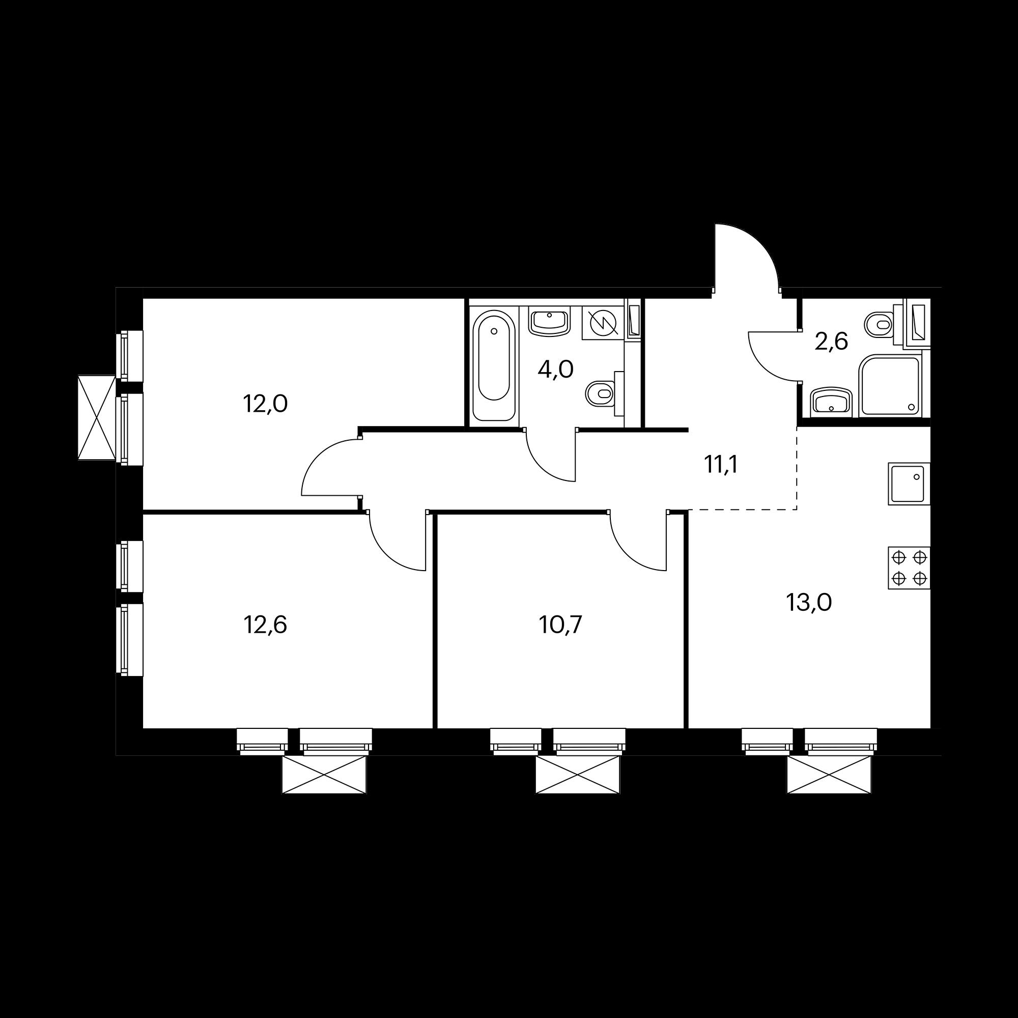 3-комнатная 65.6 м²