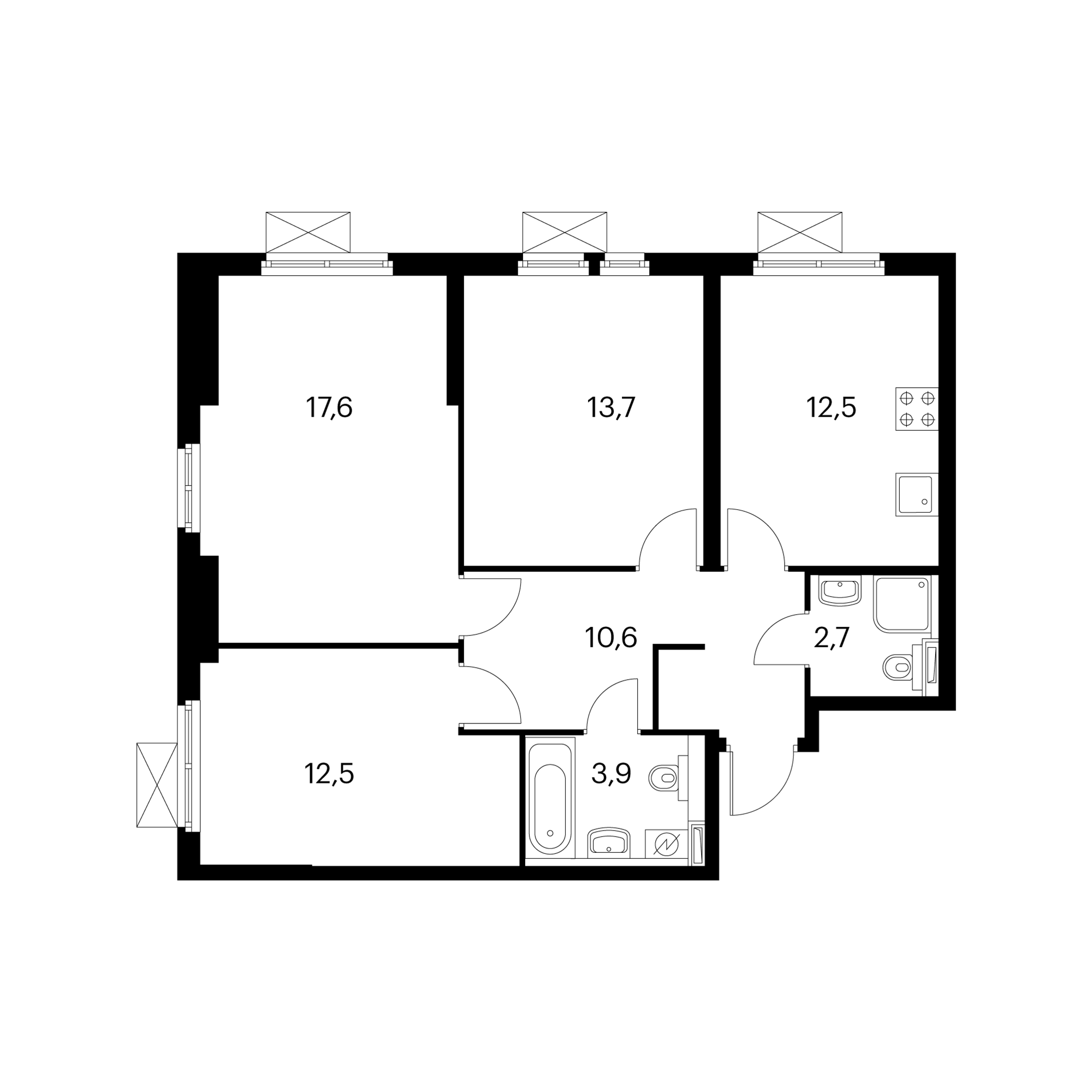 3-комнатная 73.6 м²