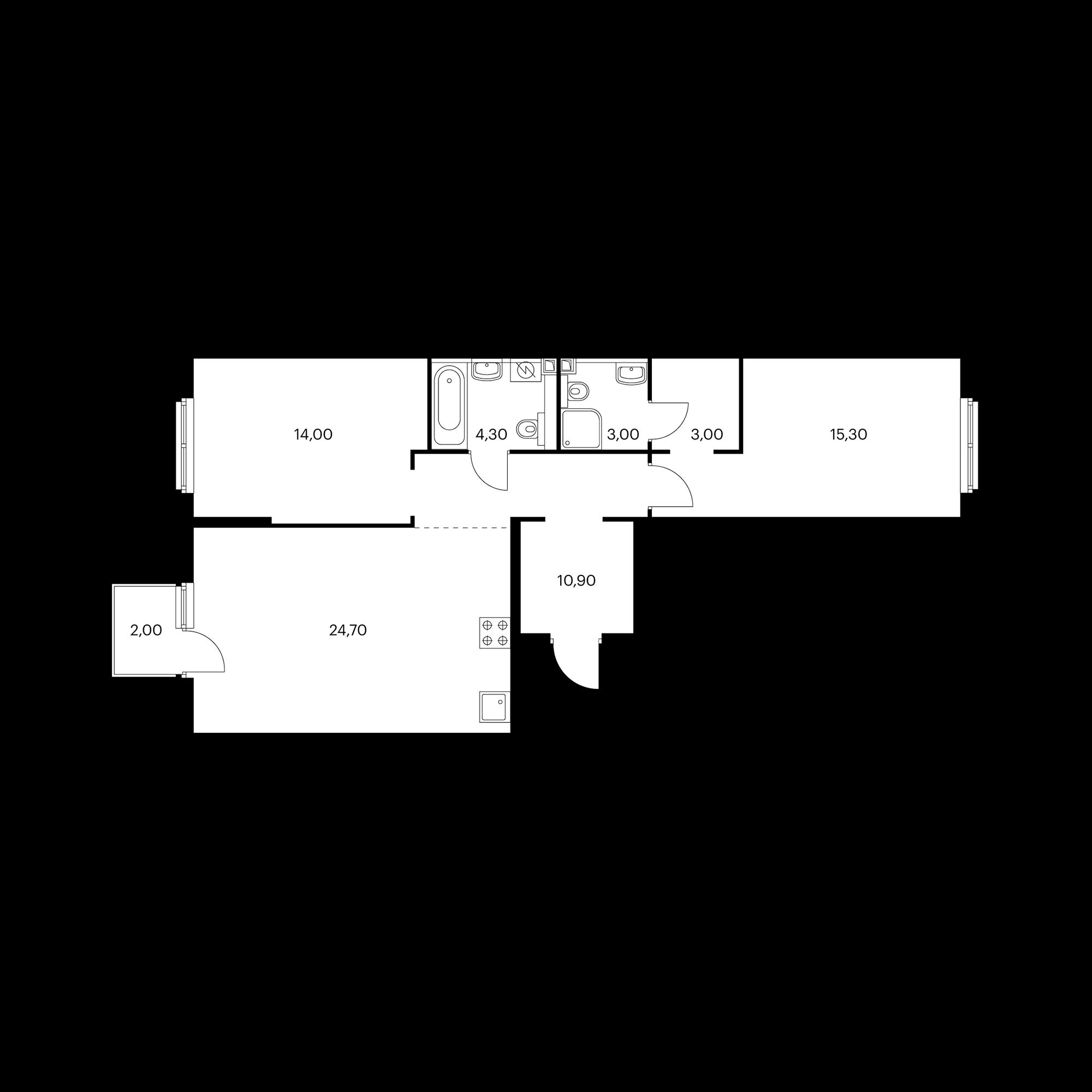 2-комнатная 76 м²