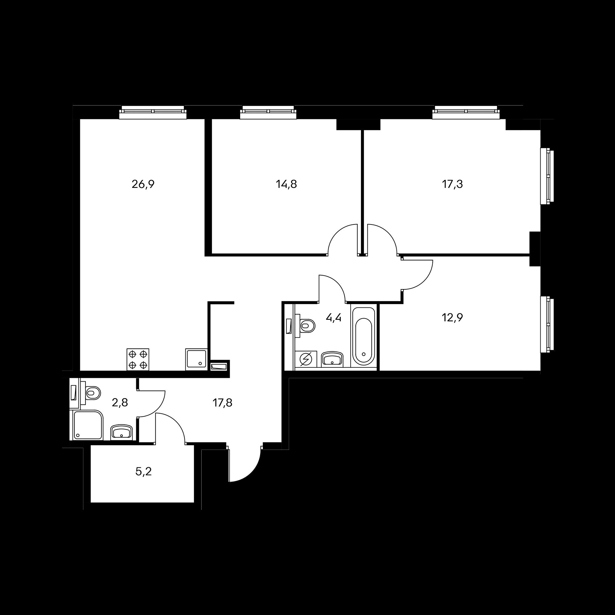3-комнатная 101.6  м²