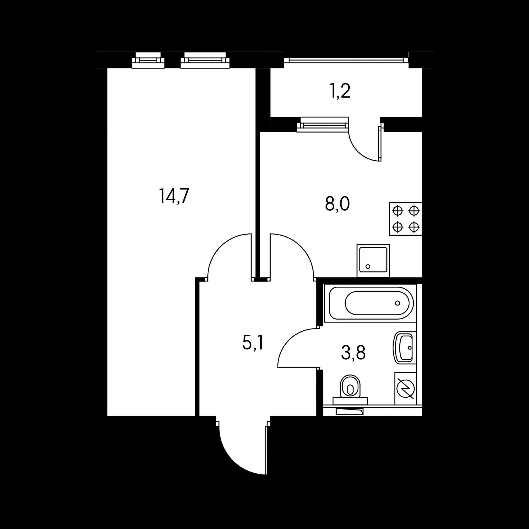 1-комнатная 32.8  м²