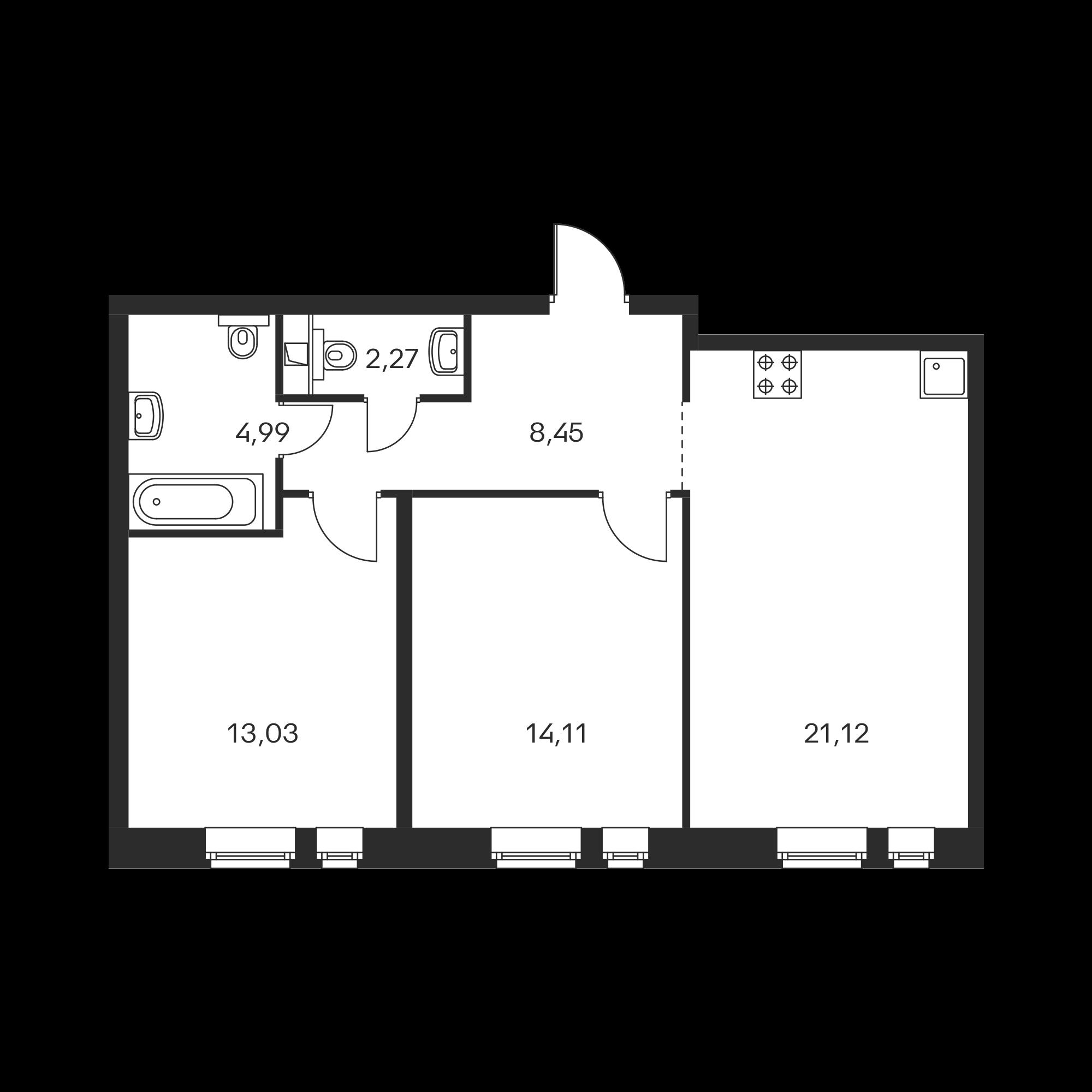 2-комнатная 63.97 м²