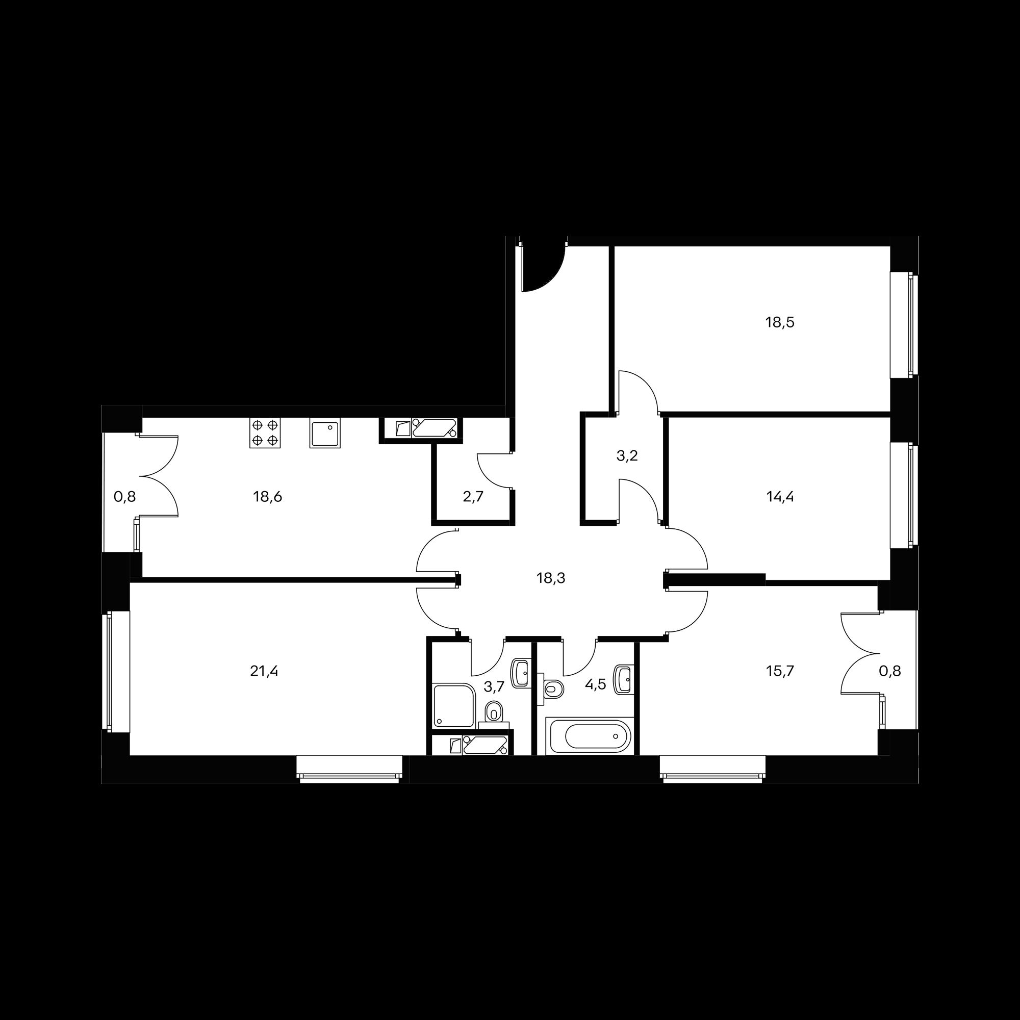 4-комнатная 121.9 м²