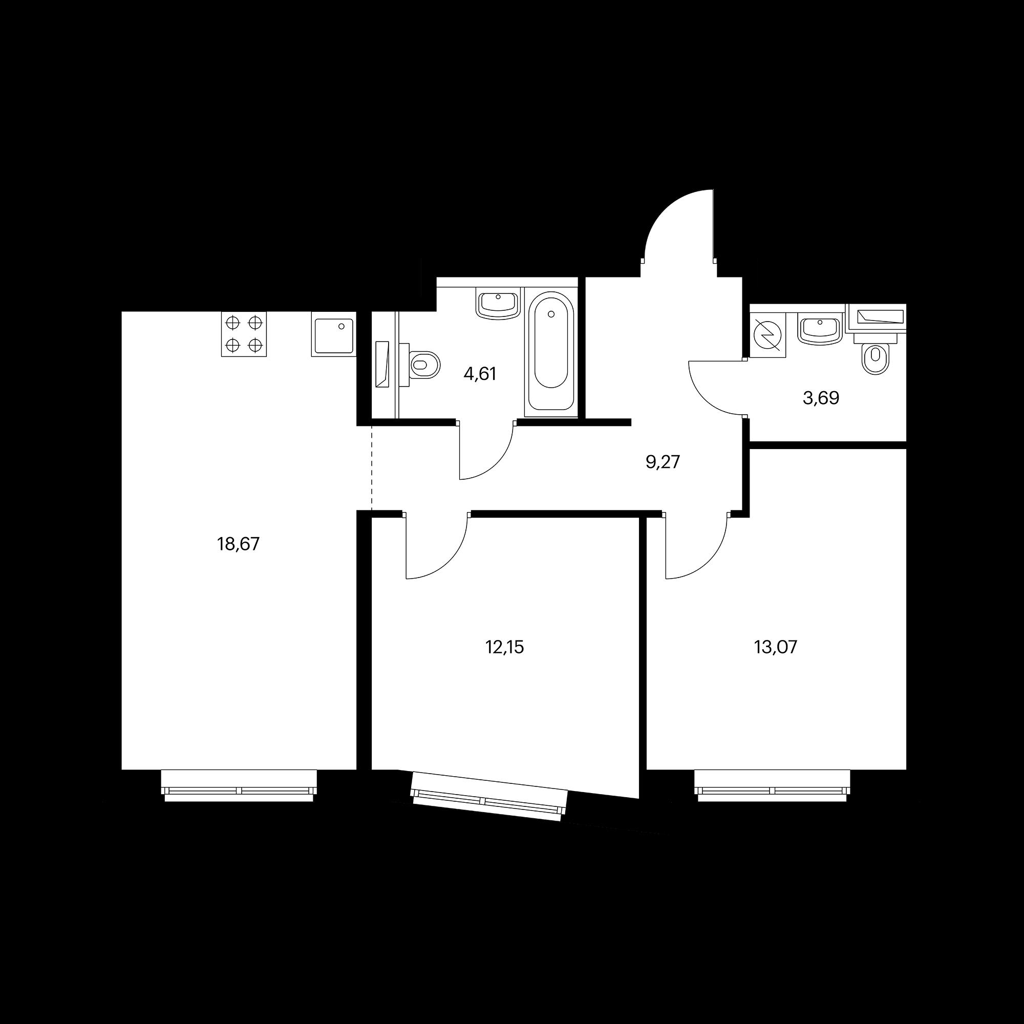 2-комнатная 61.46  м²