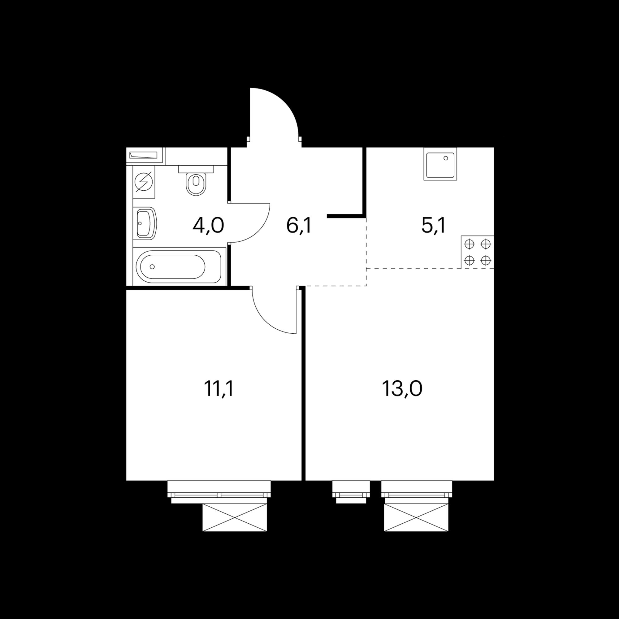 2-комнатная 39.3 м²