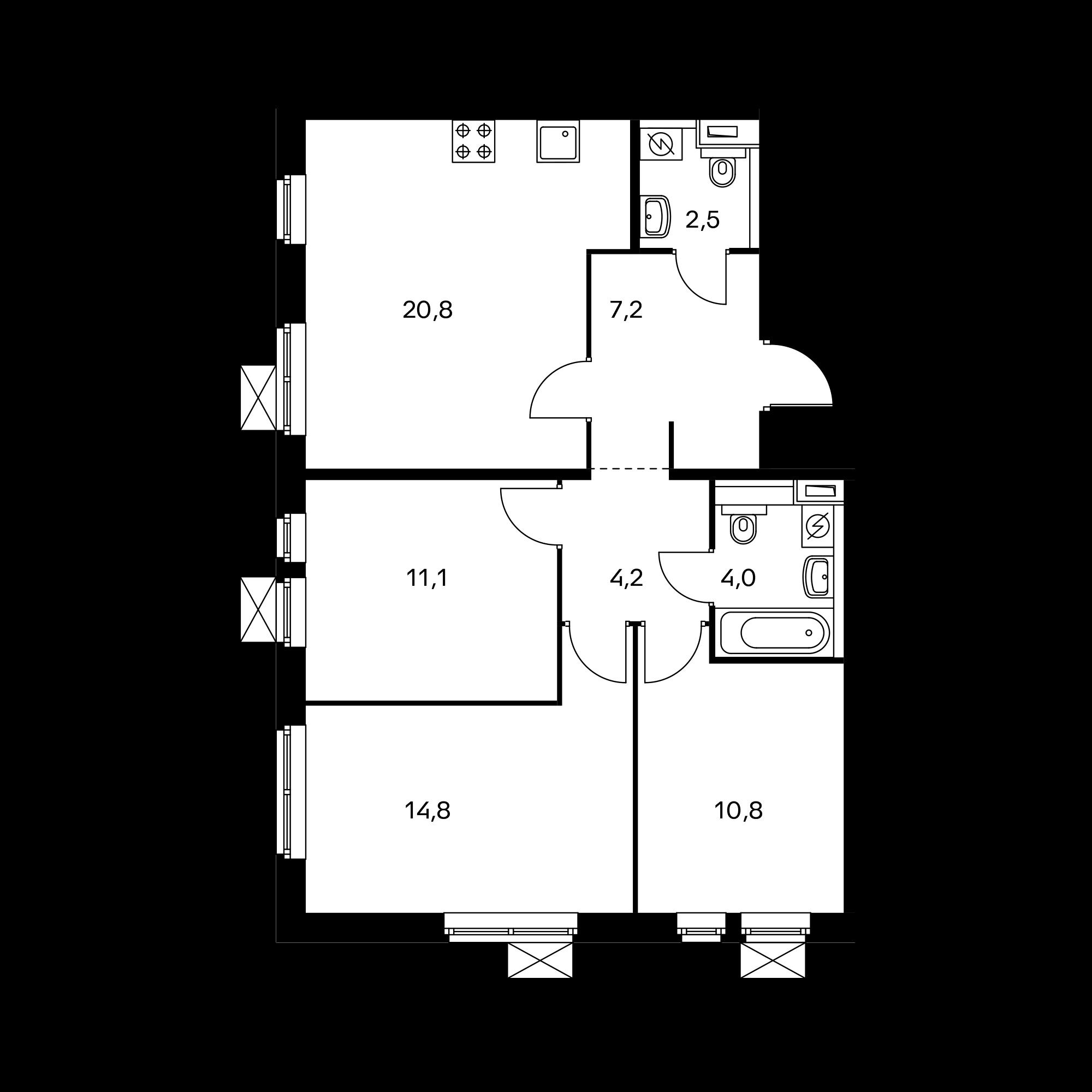 3-комнатная 75.4 м²
