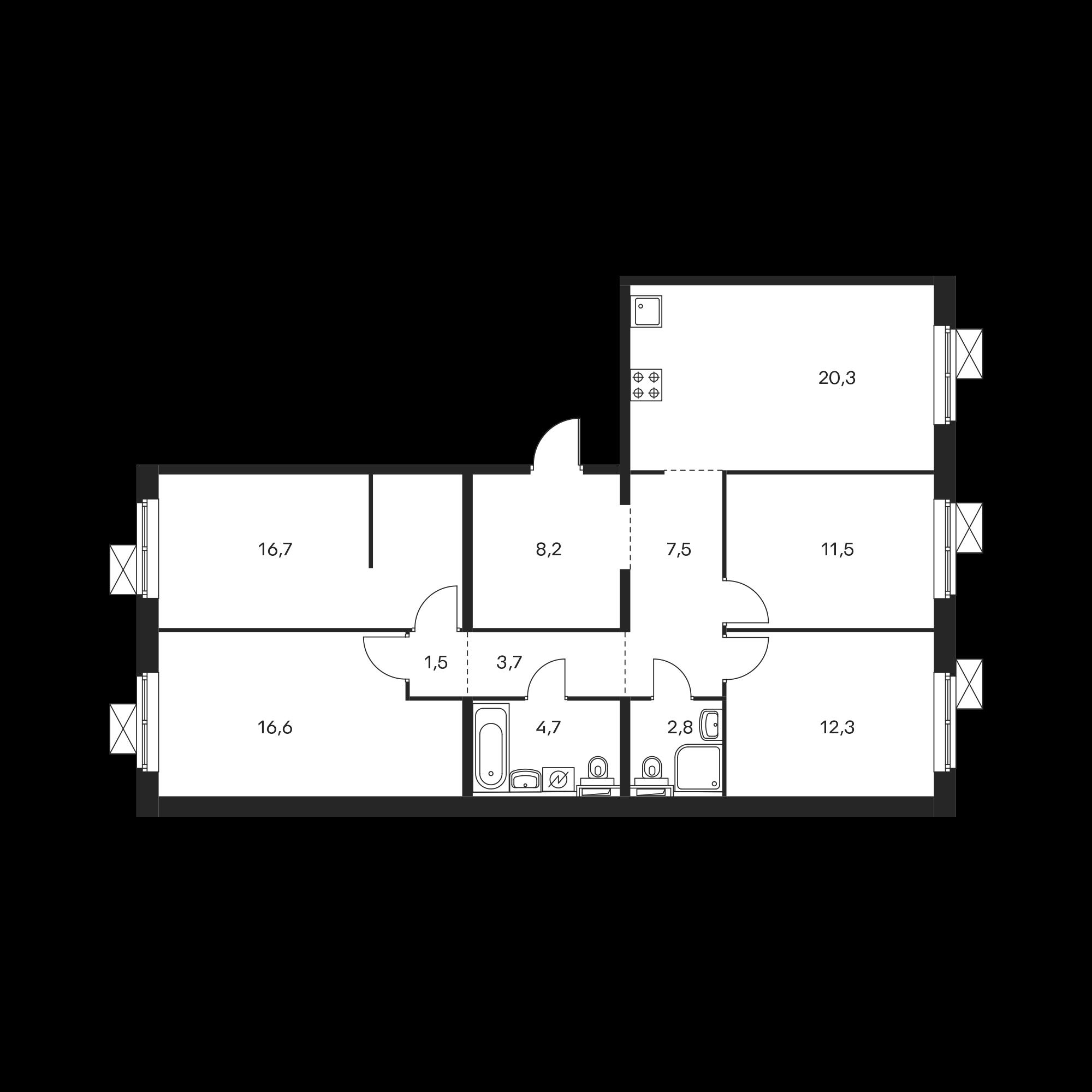 4-комнатная 105.8 м²