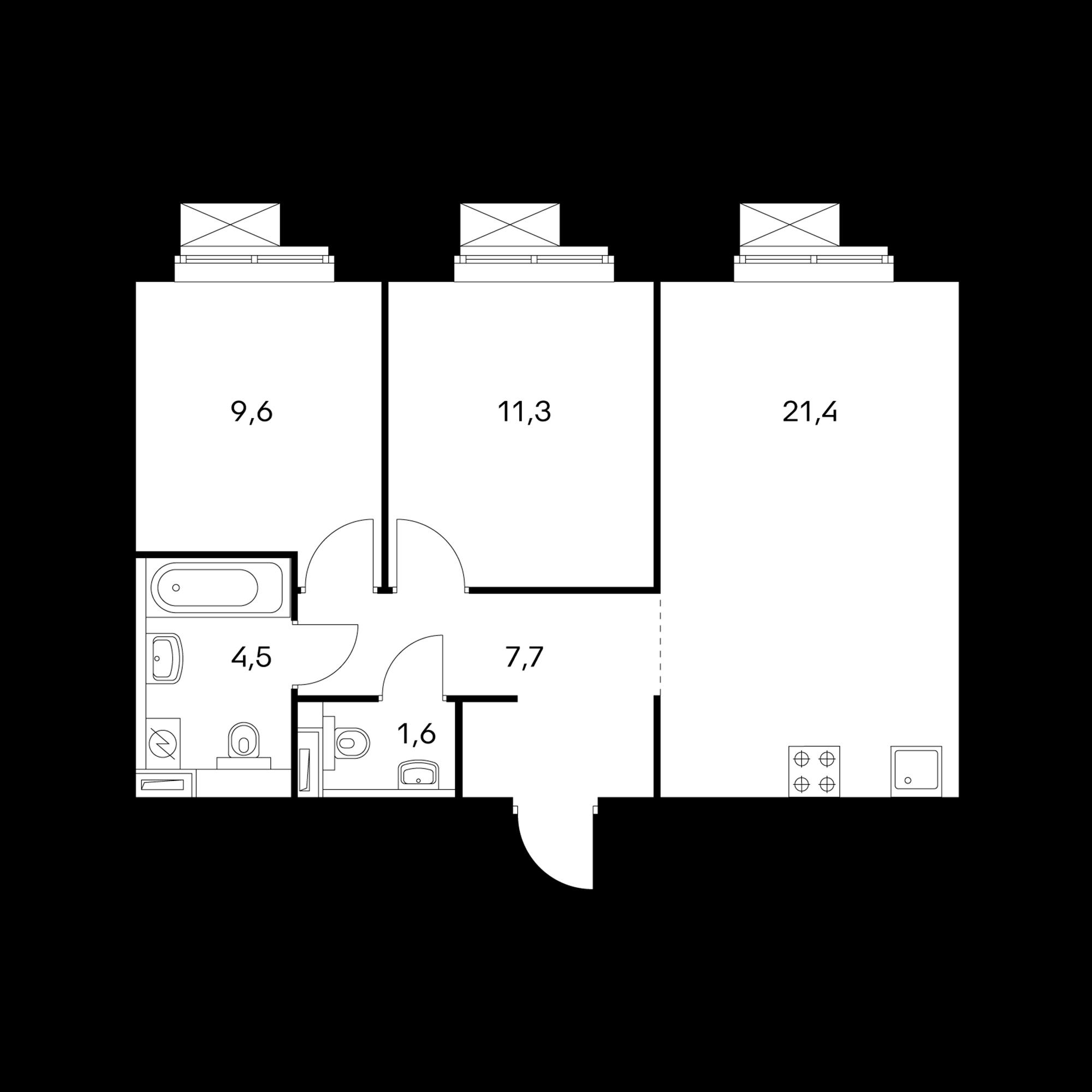 2-комнатная 56.1  м²