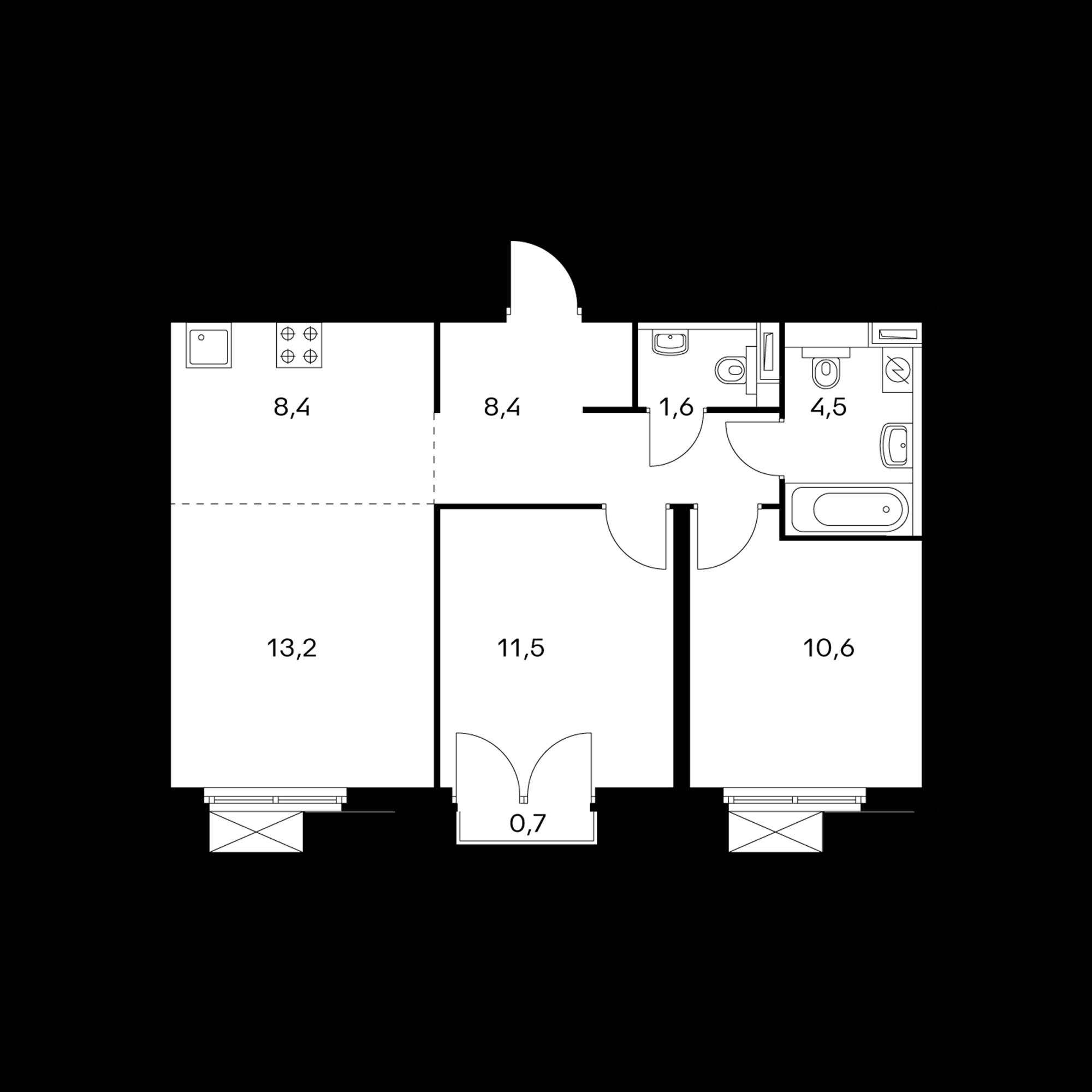 3-комнатная 58.4  м²