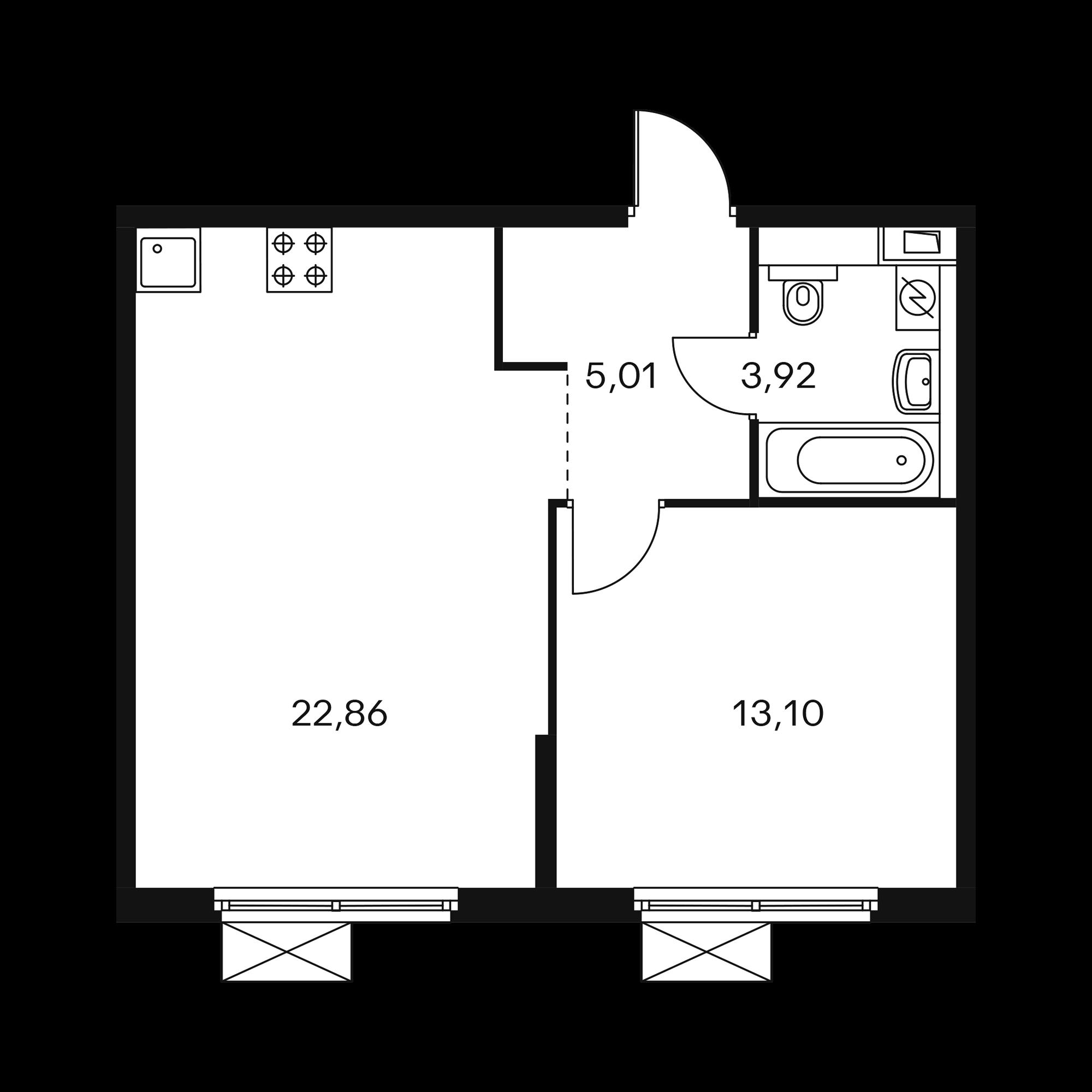 1-комнатная 44.83 м²