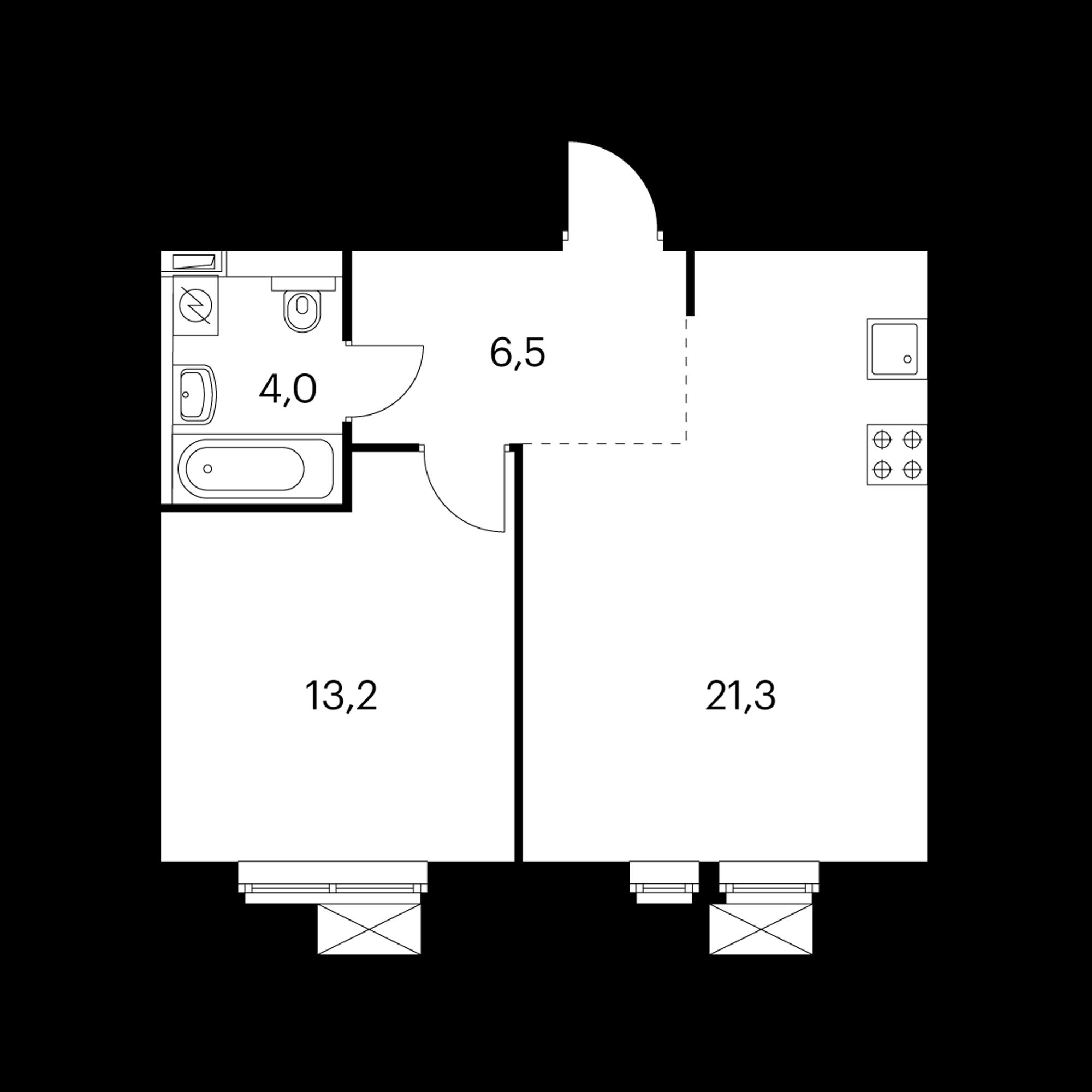 1-комнатная 45  м²