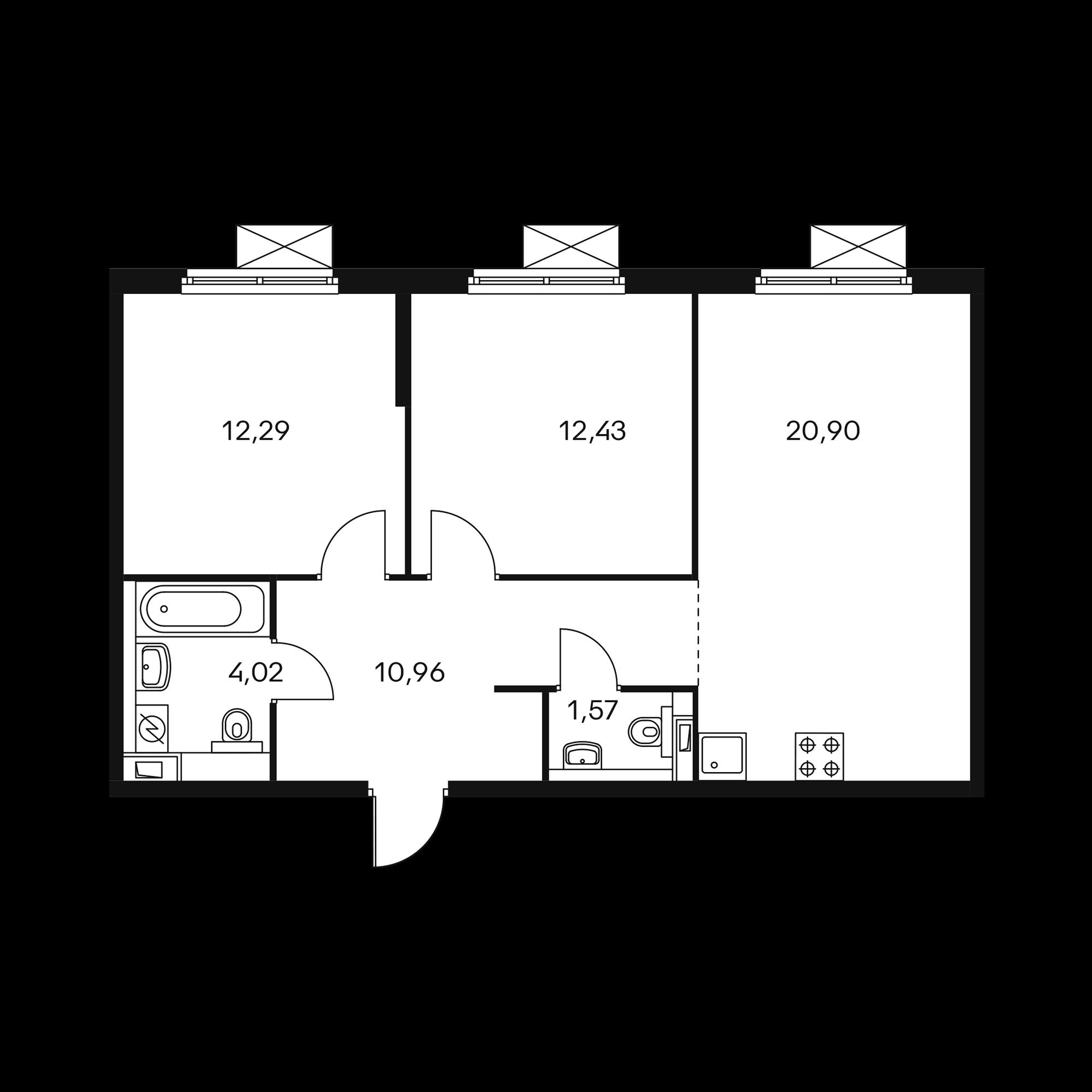 2-комнатная 62.09 м²