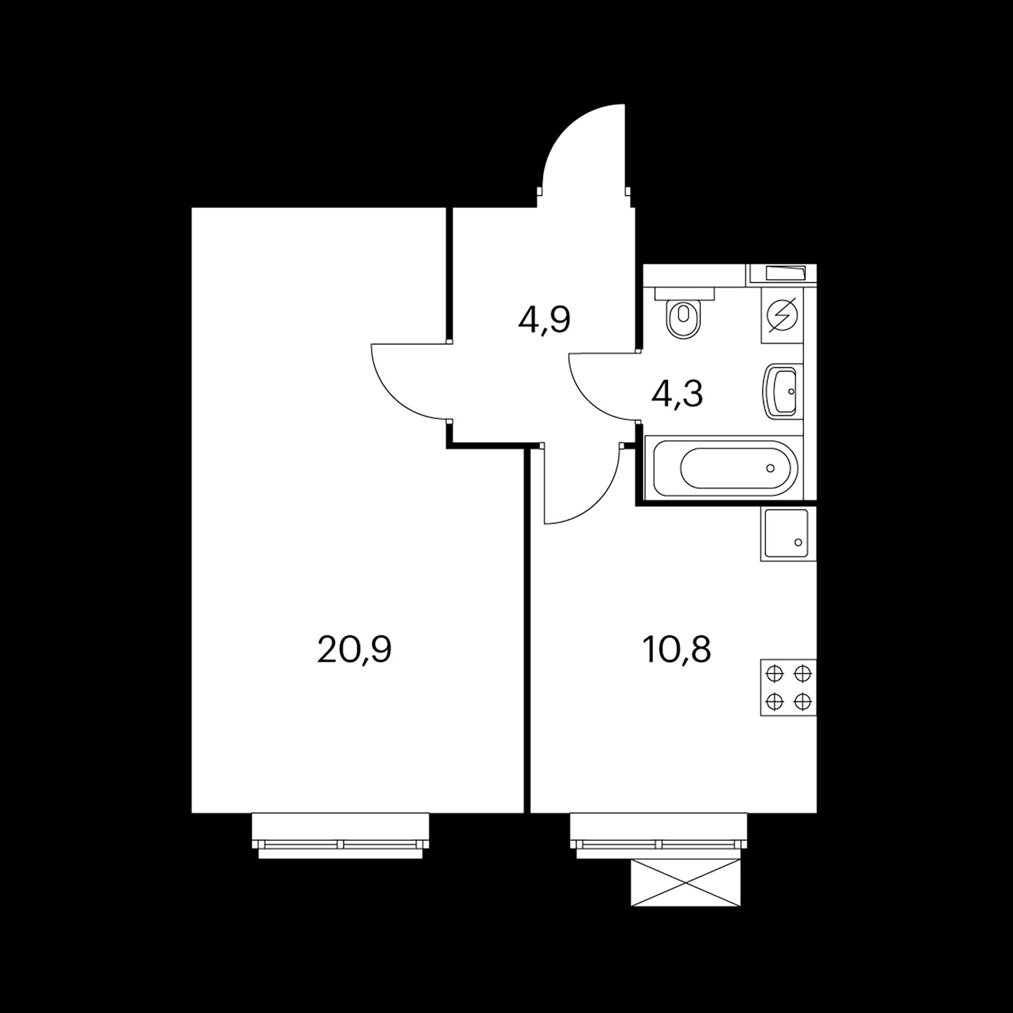 1-комнатная 40.9 м²