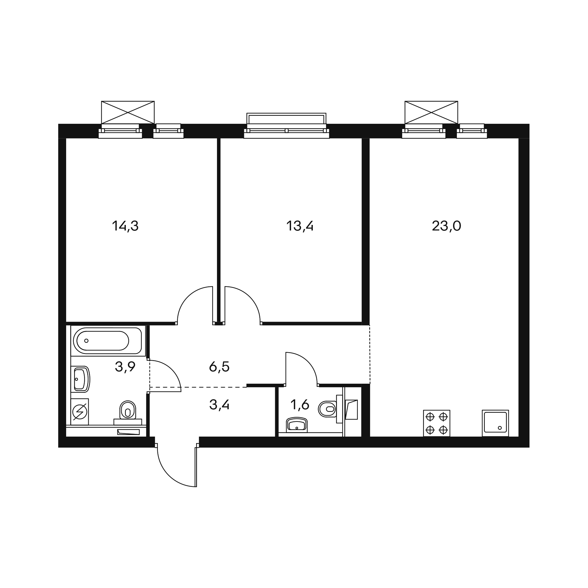 2-комнатная 66.1 м²
