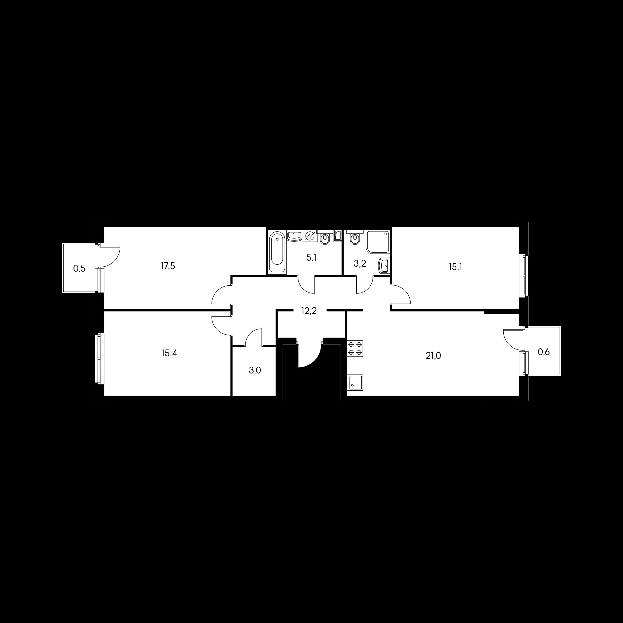 3-комнатная 92.8  м²