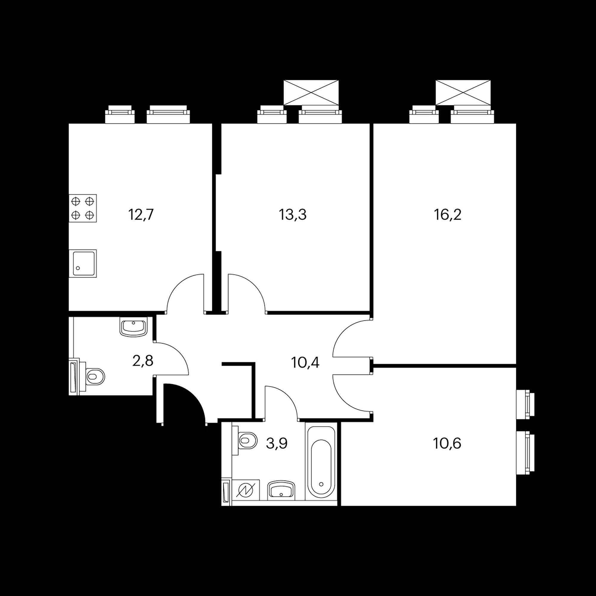 3-комнатная 69.9 м²