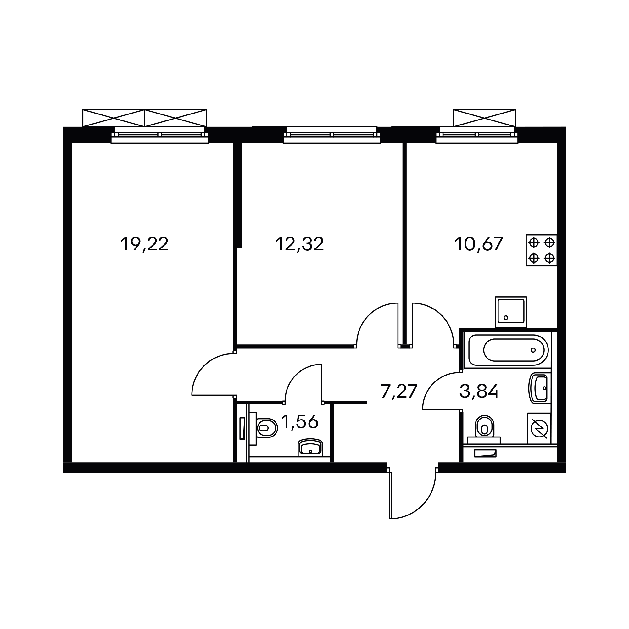 2-комнатная 54.88  м²