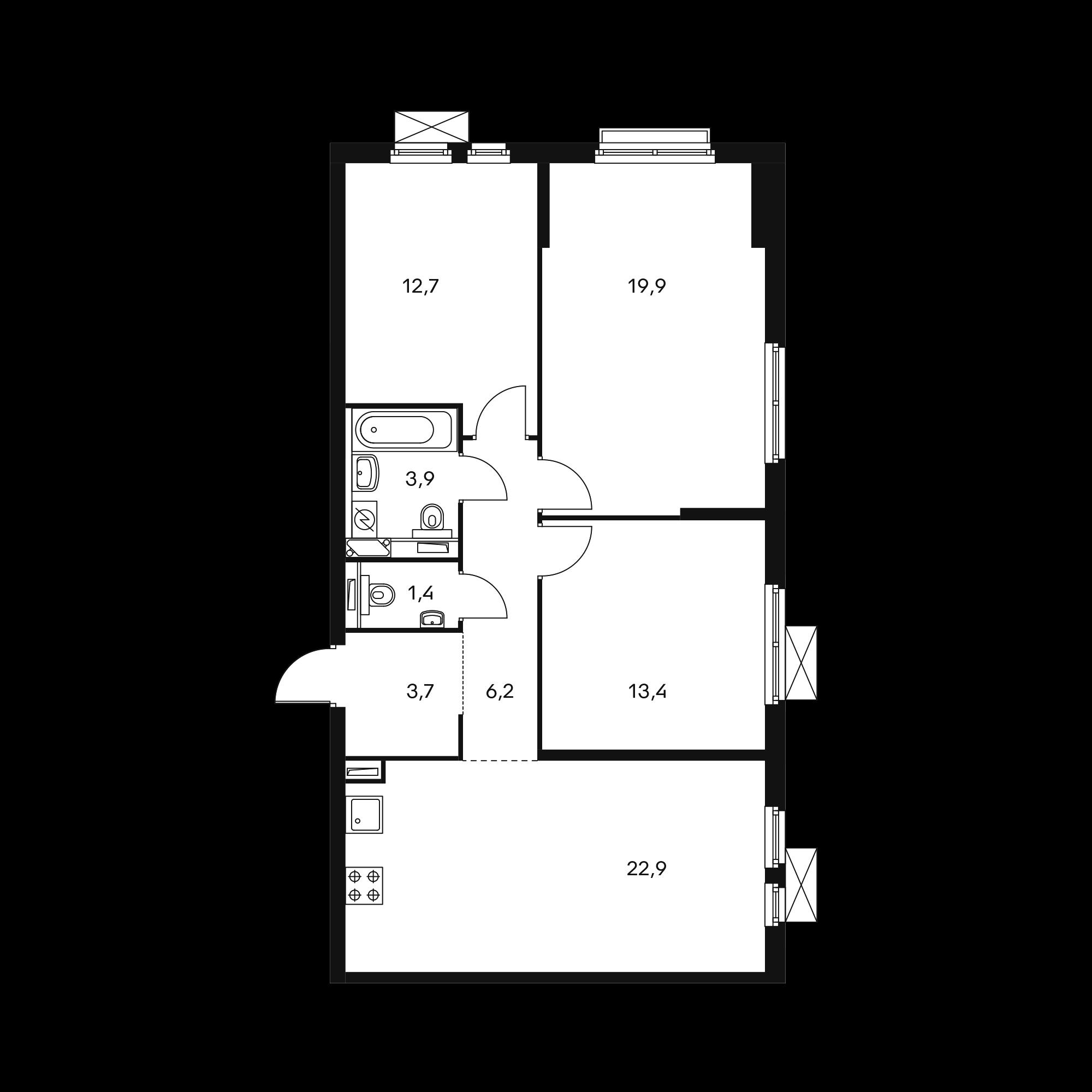 3-комнатная 84.1  м²