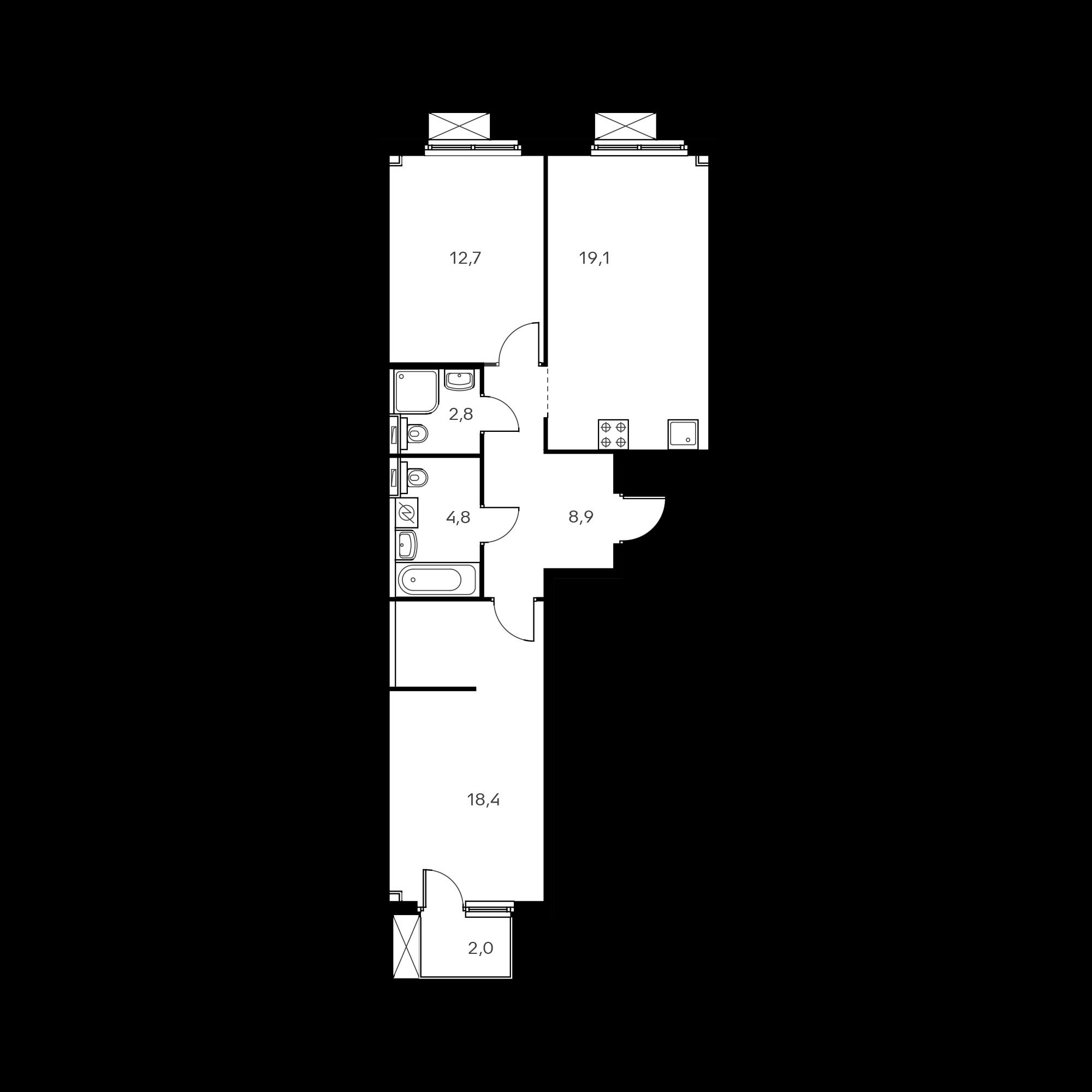 2-комнатная 67.1  м²