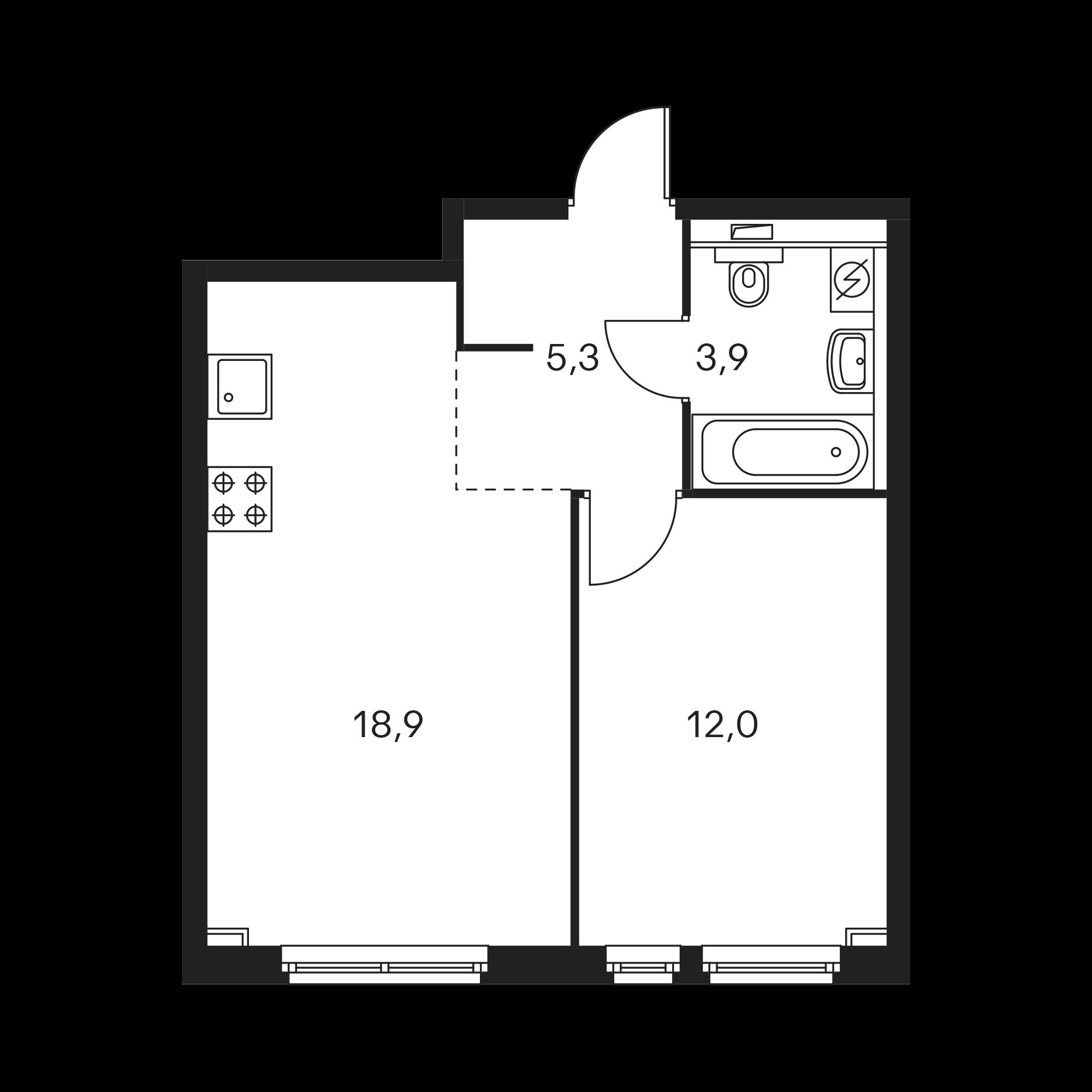 1-комнатная 40.6  м²