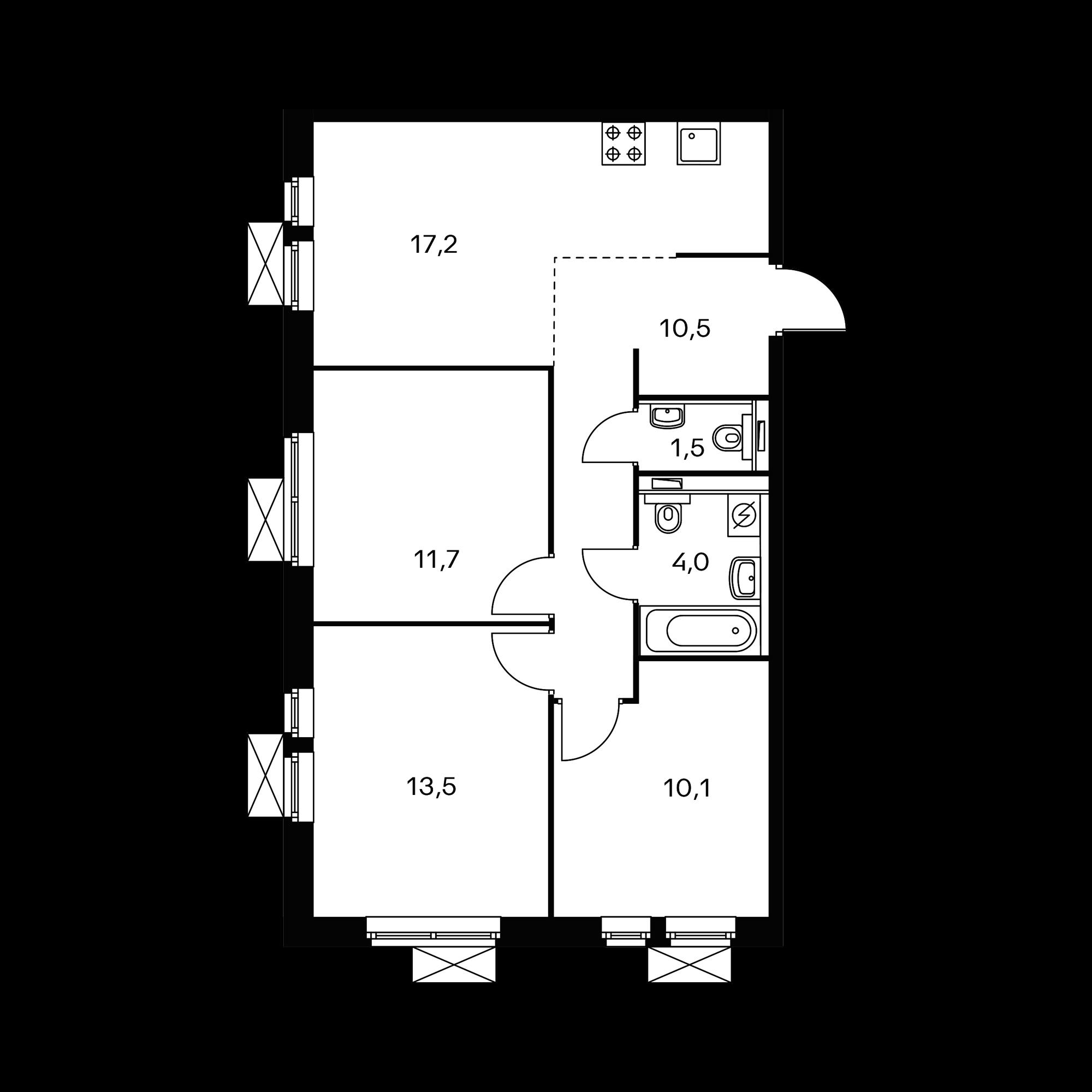 3-комнатная 68.9  м²