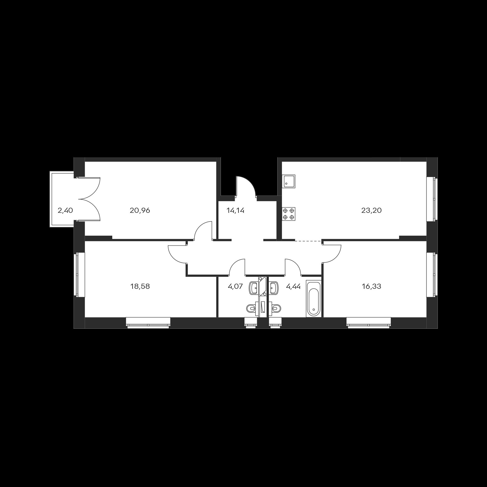 3-комнатная 102.44 м²