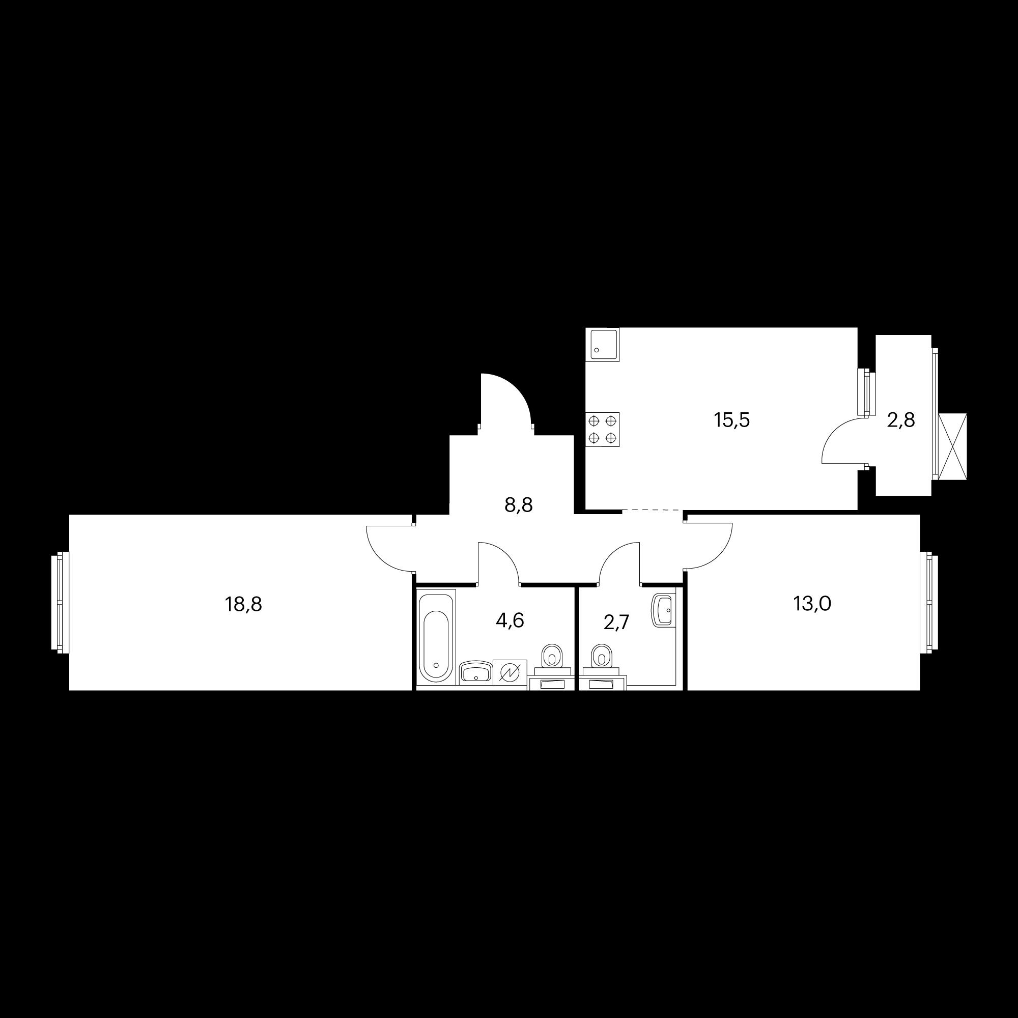2-комнатная 64.8 м²