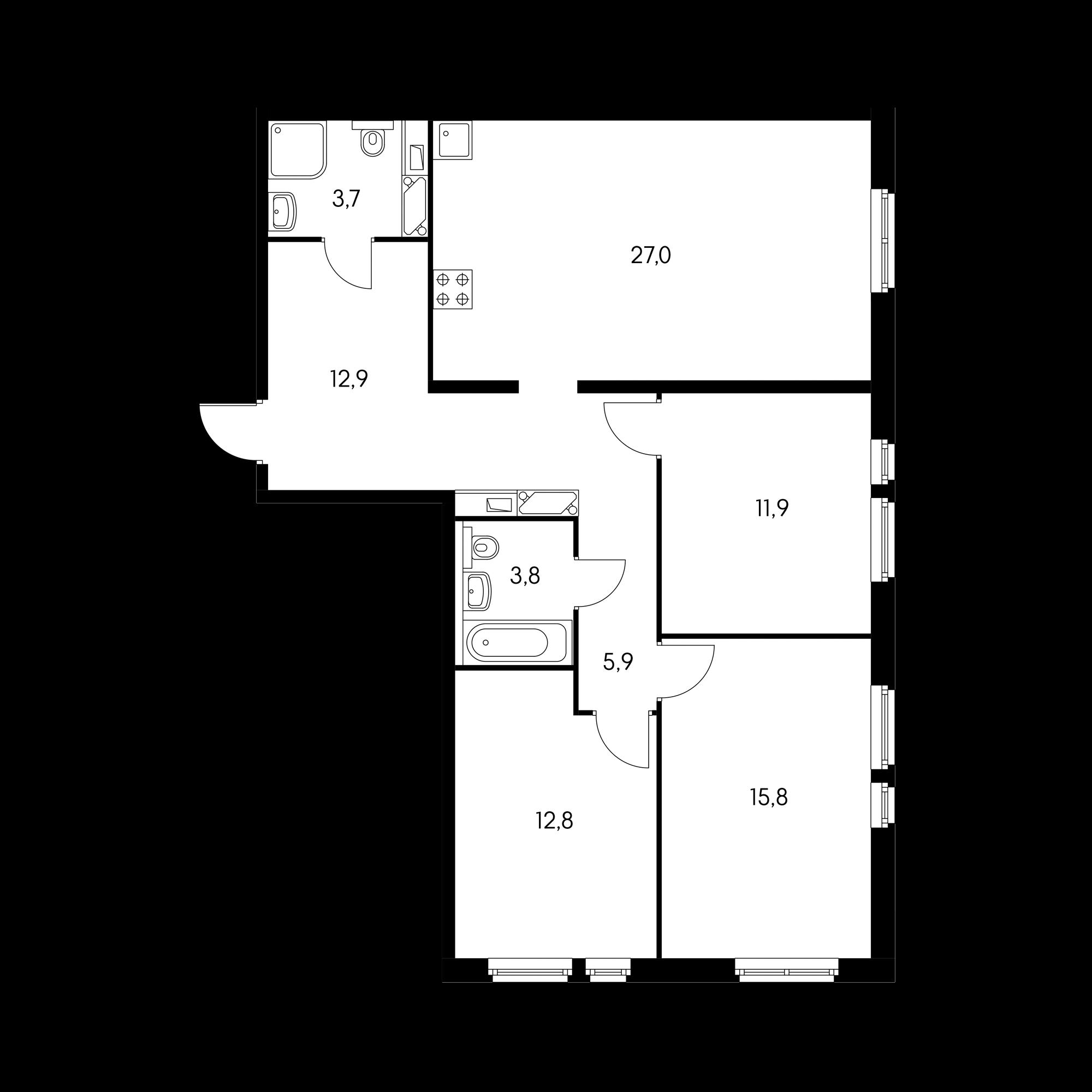 3-комнатная 92.3  м²