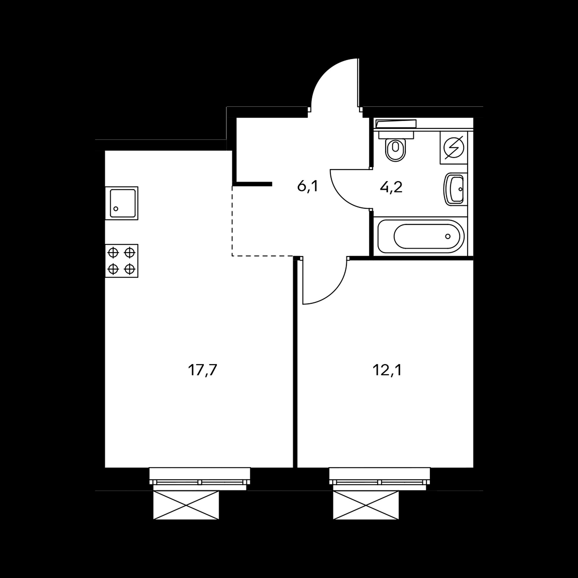 1-комнатная 40.7  м²
